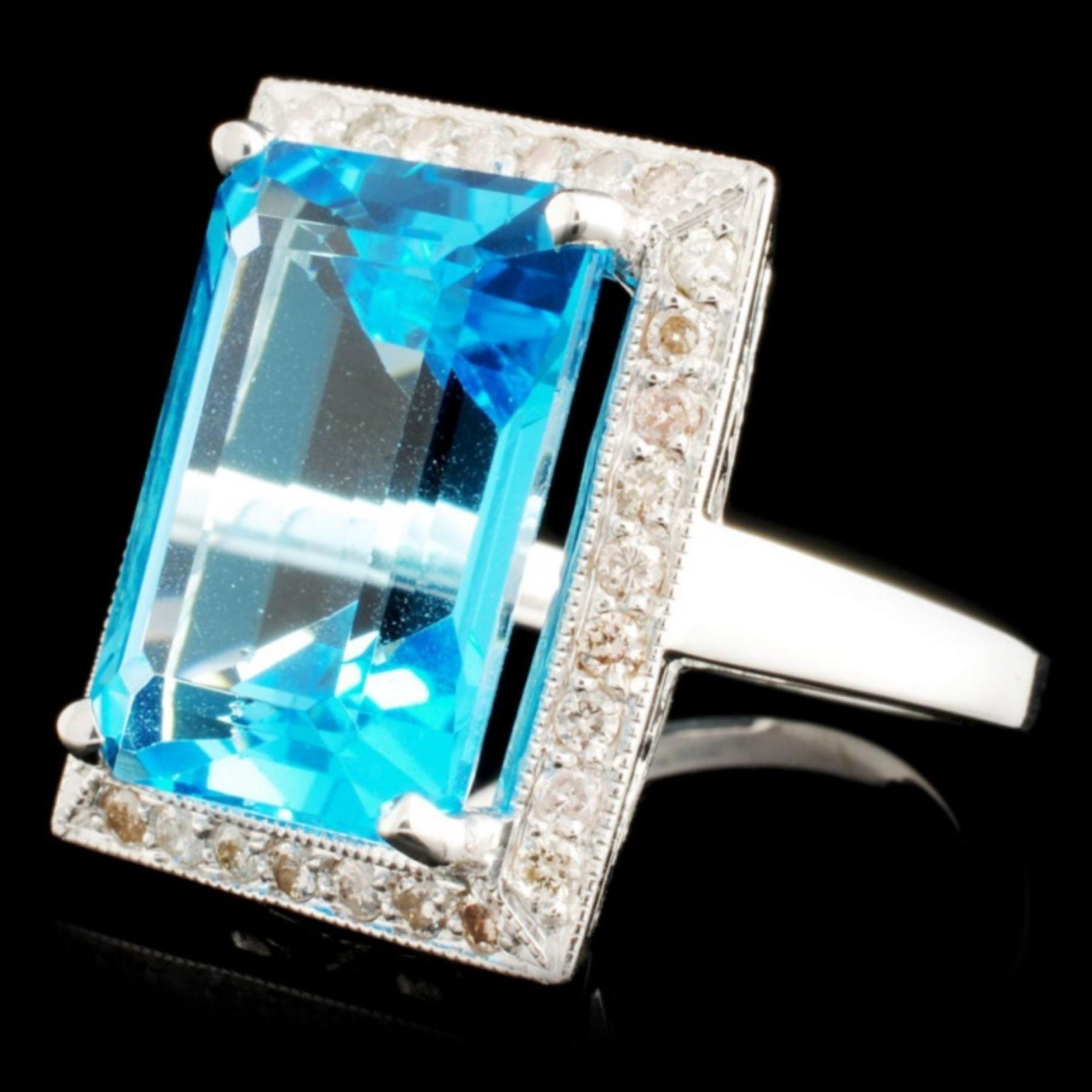 18K Gold 13.96ct Topaz & 0.52ctw Diamond Ring - Image 2 of 4