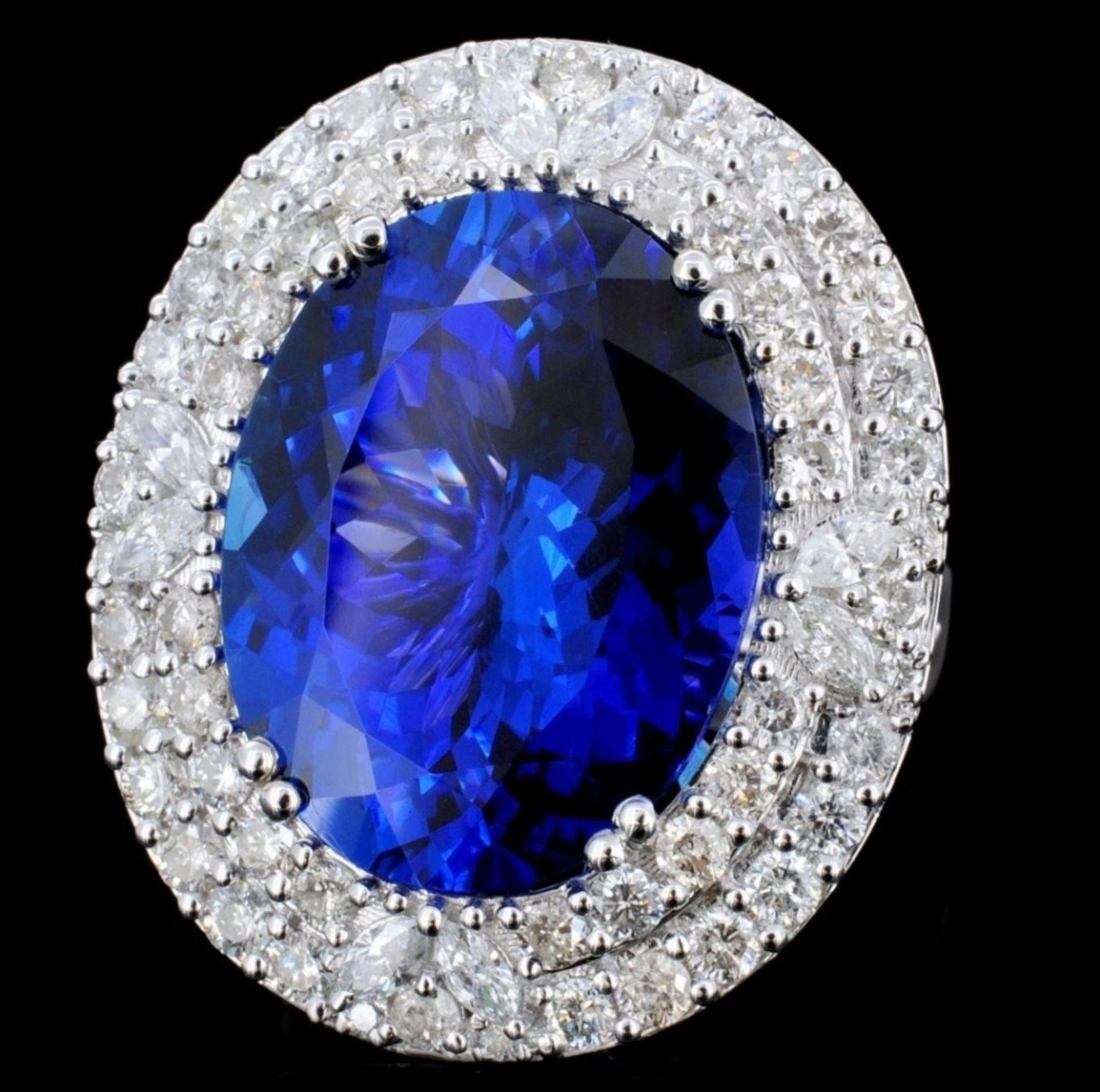 18K Gold 16.55ct Tanzanite & 2.05ct Diamond Ring - Image 2 of 4