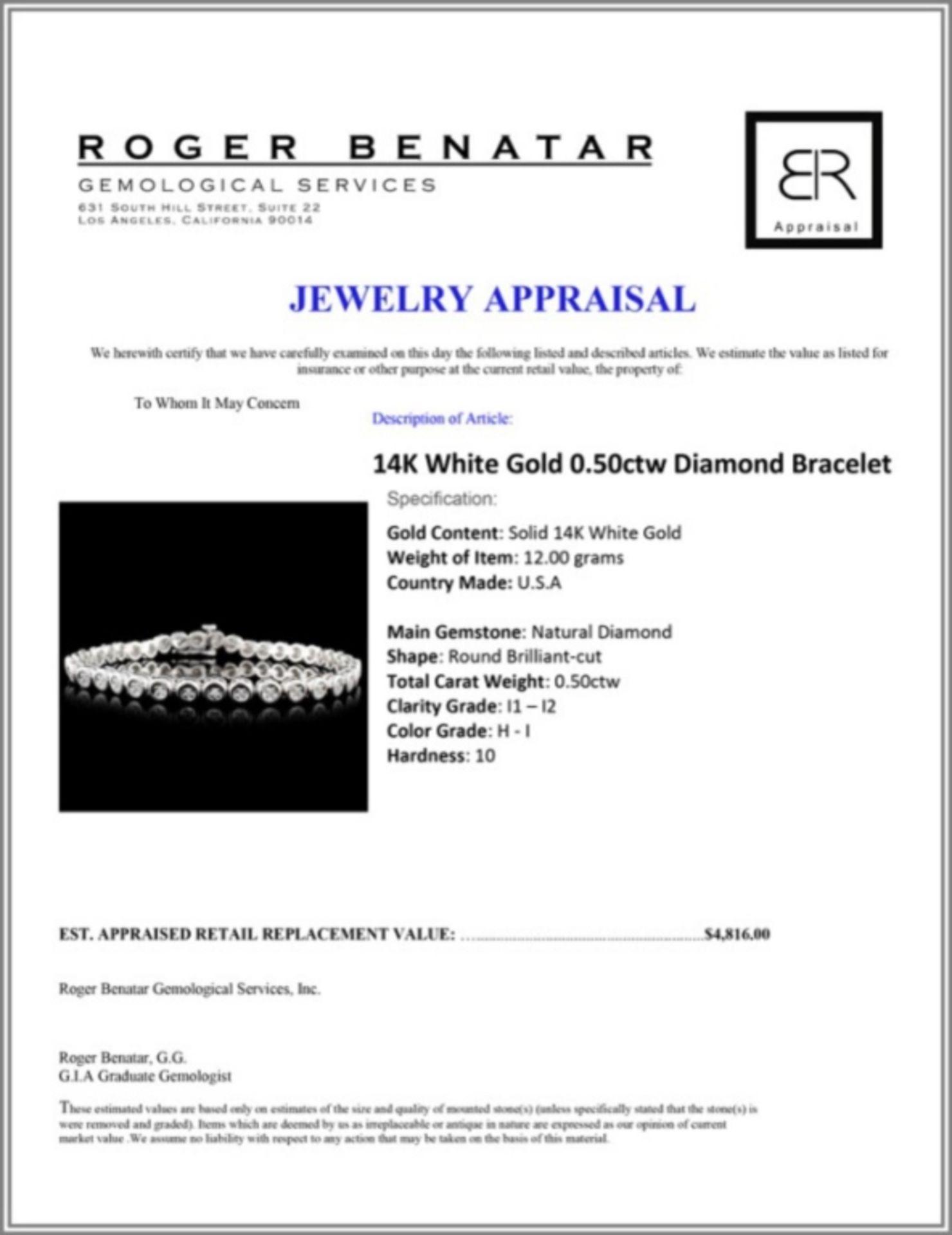 14K White Gold 0.50ctw Diamond Bracelet - Image 3 of 3