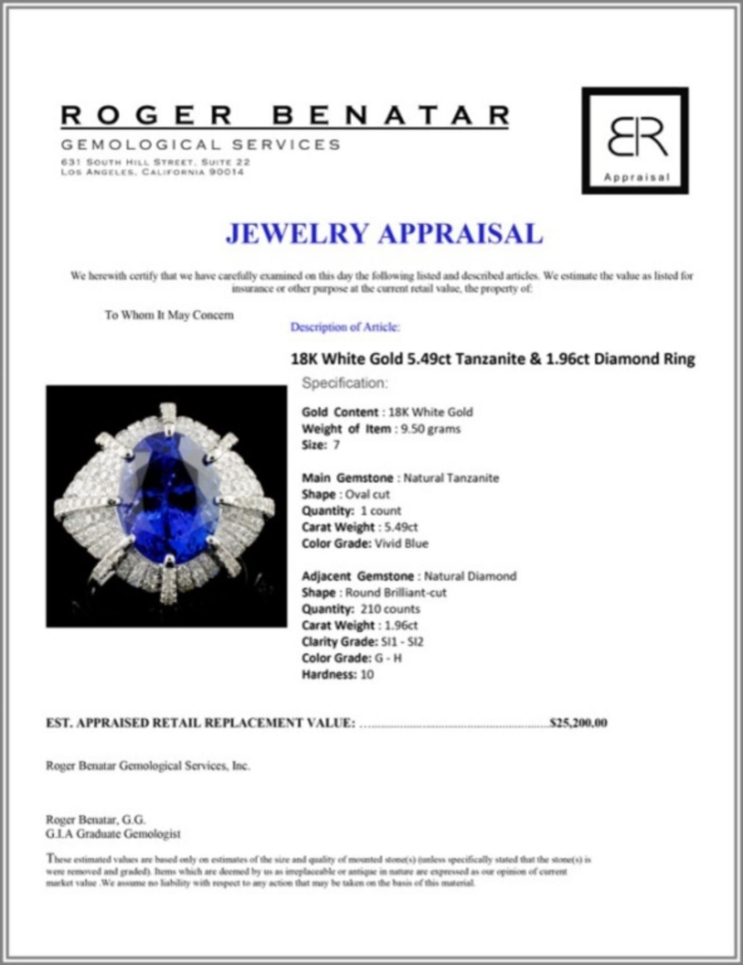 18K White Gold 5.49ct Tanzanite & 1.96ct Diamond R - Image 4 of 4