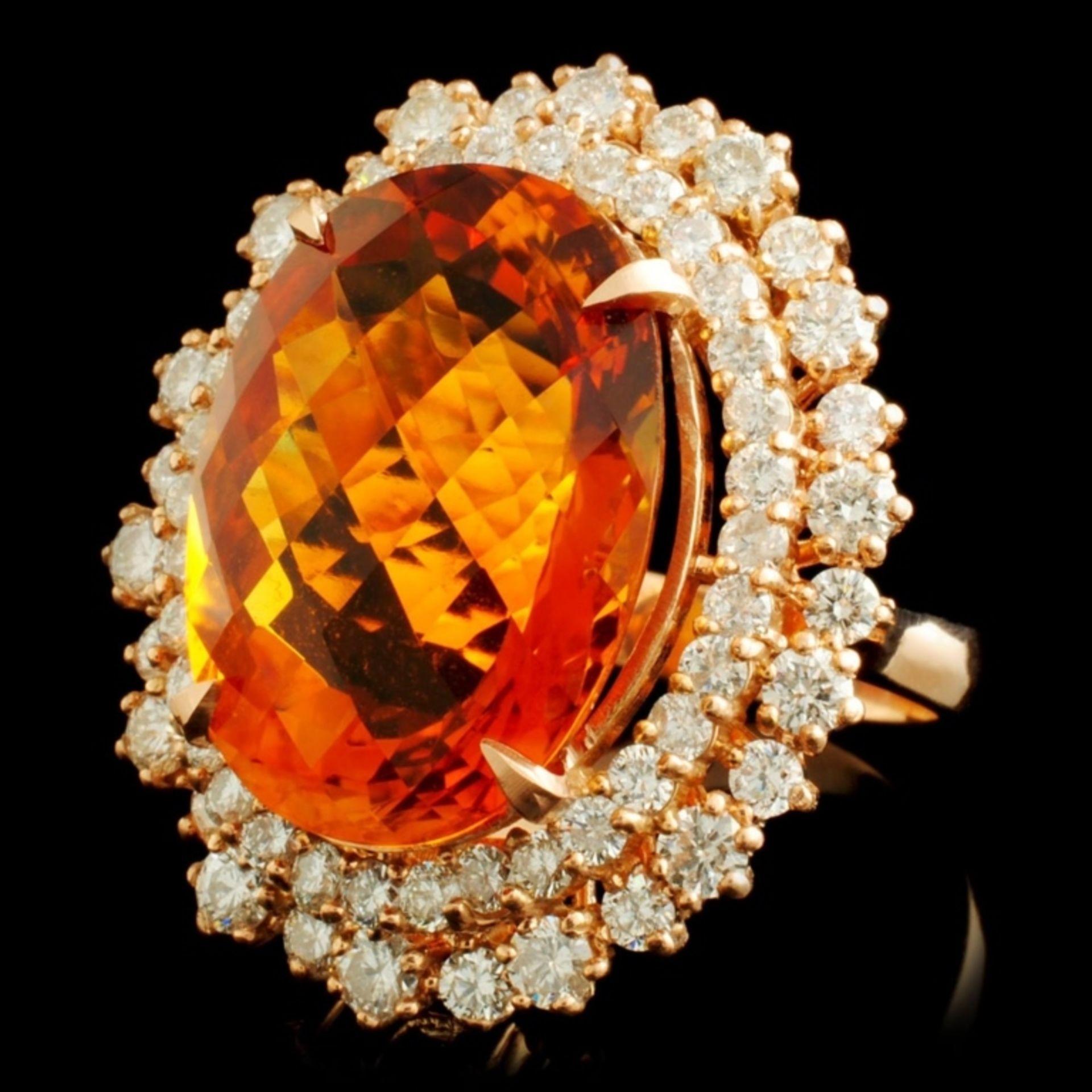 14K Gold 13.82ct Citrine & 2.30ctw Diamond Ring - Image 2 of 5