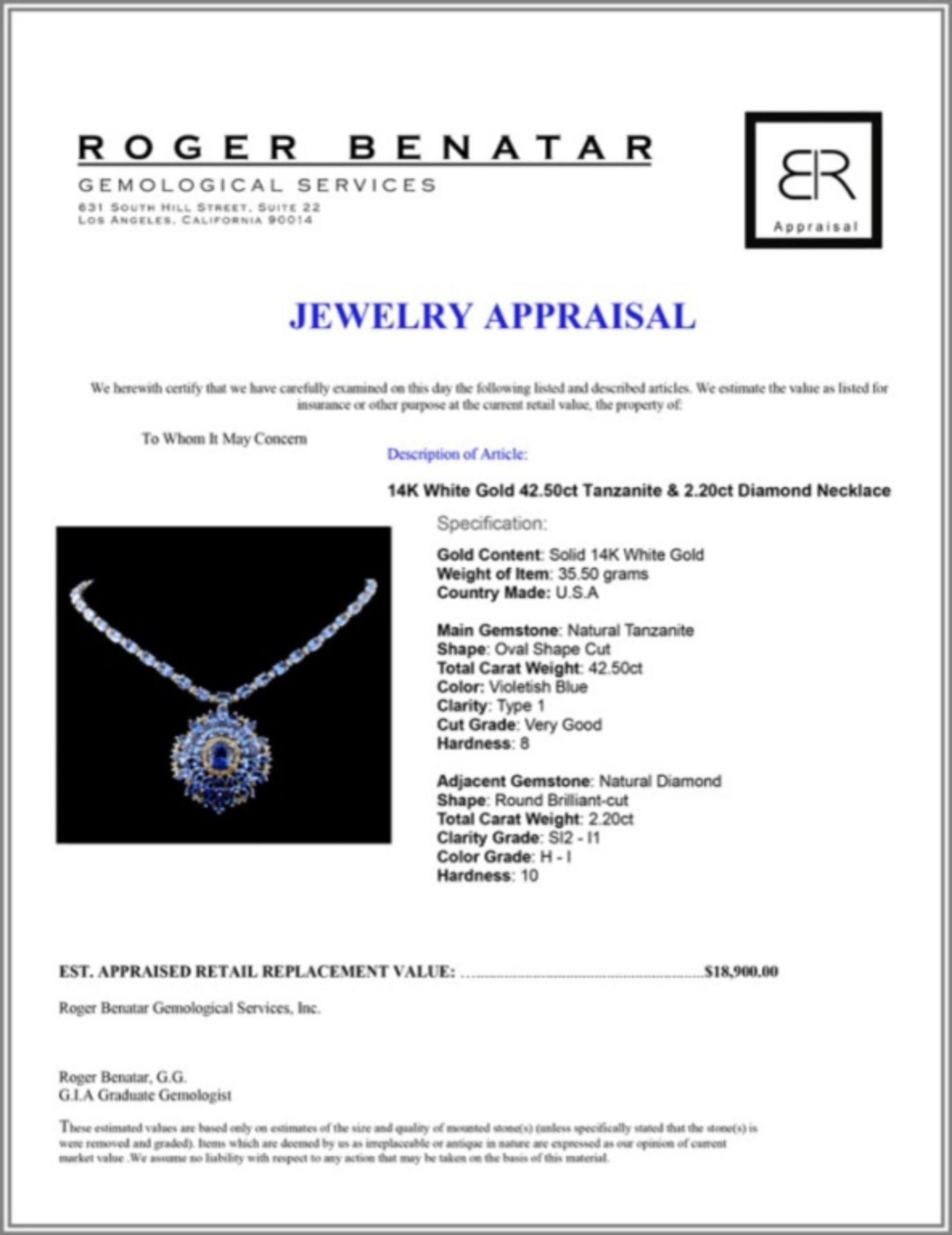 14K White Gold 42.50ct Tanzanite & 2.20ct Diamond - Image 3 of 3