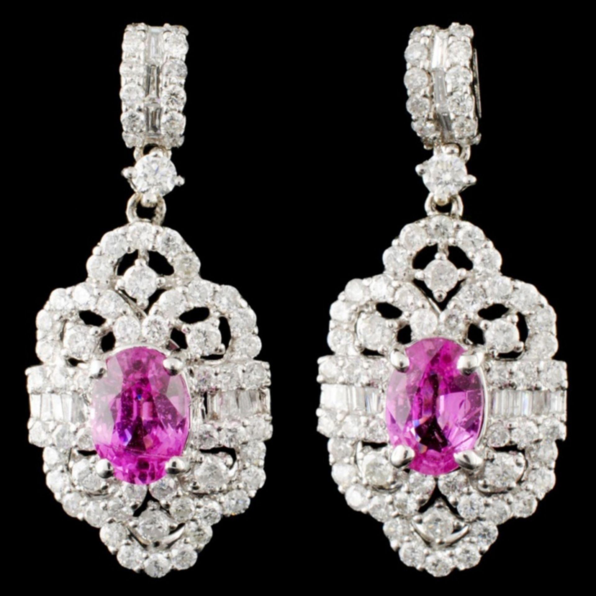 18K Gold 1.51ct Sapphire & 1.46ctw Diamond Earring
