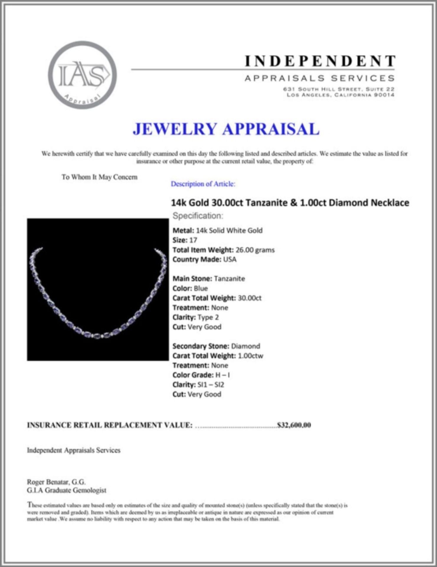 `14k Gold 30.00ct Tanzanite & 1.00ct Diamond Neckl - Image 3 of 3