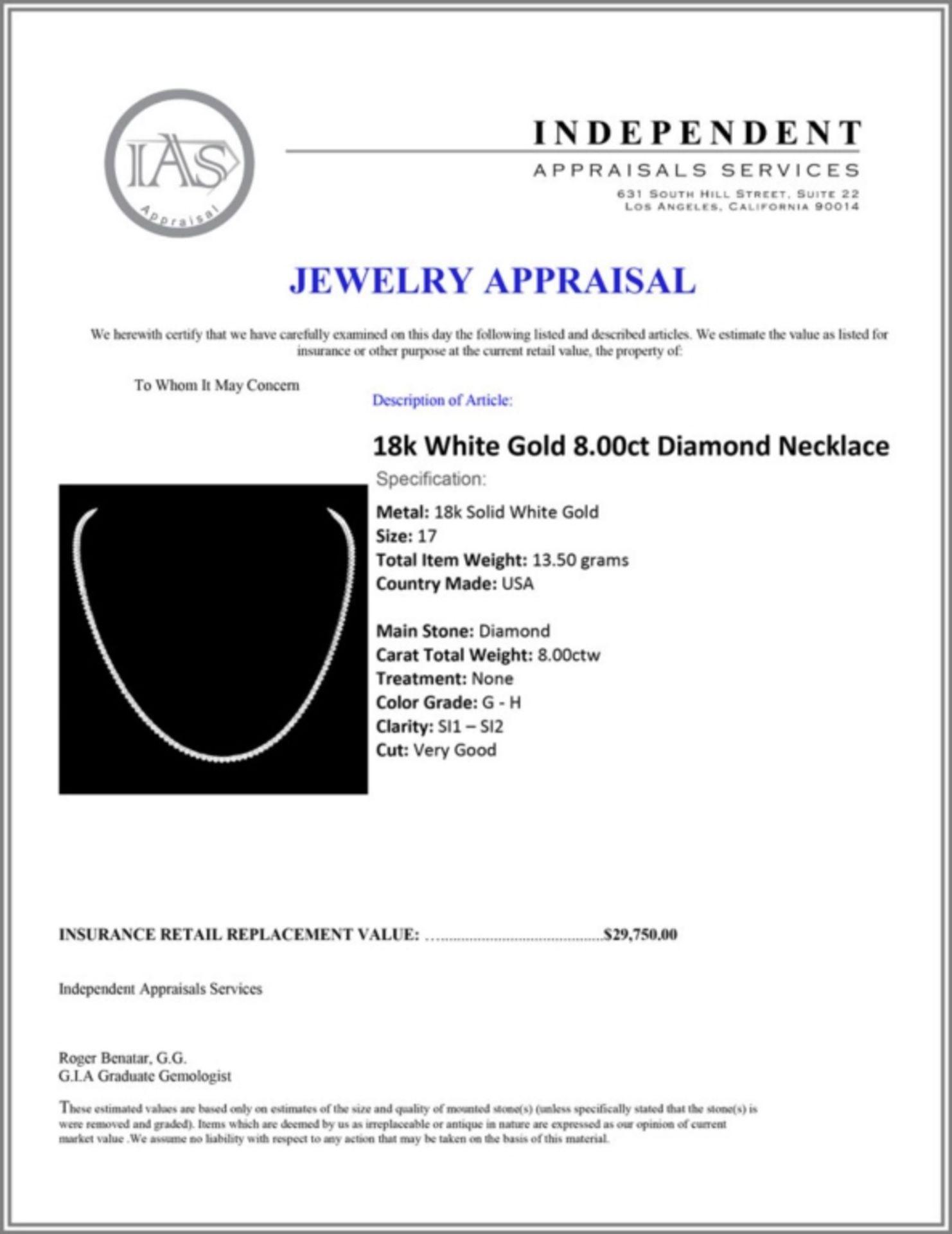 ^18k White Gold 8.00ct Diamond Necklace - Image 4 of 4