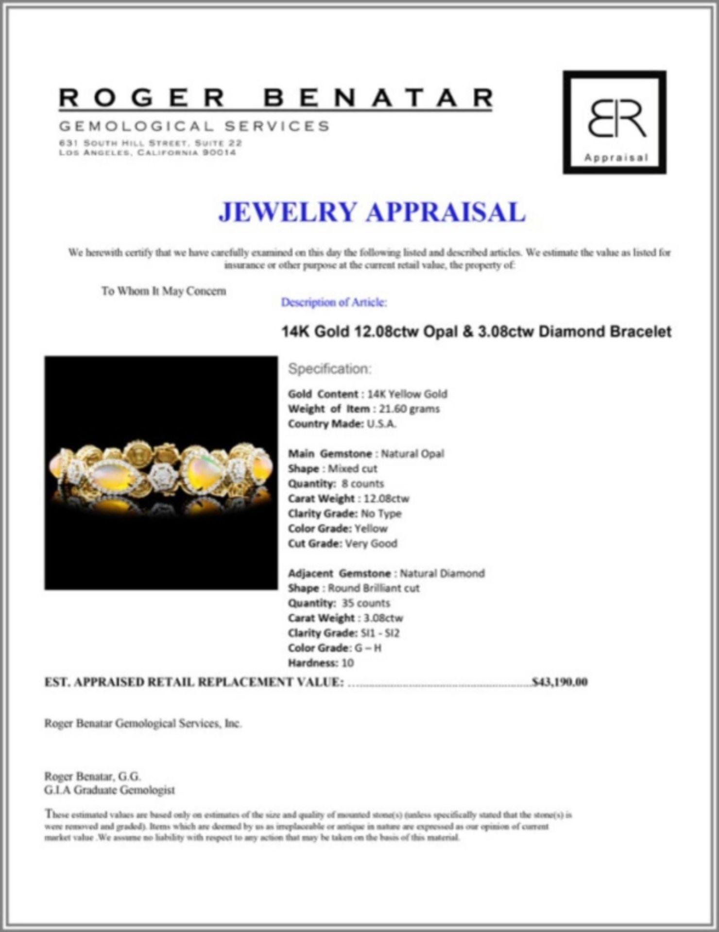 14K Gold 12.08ctw Opal & 3.08ctw Diamond Bracelet - Image 3 of 3