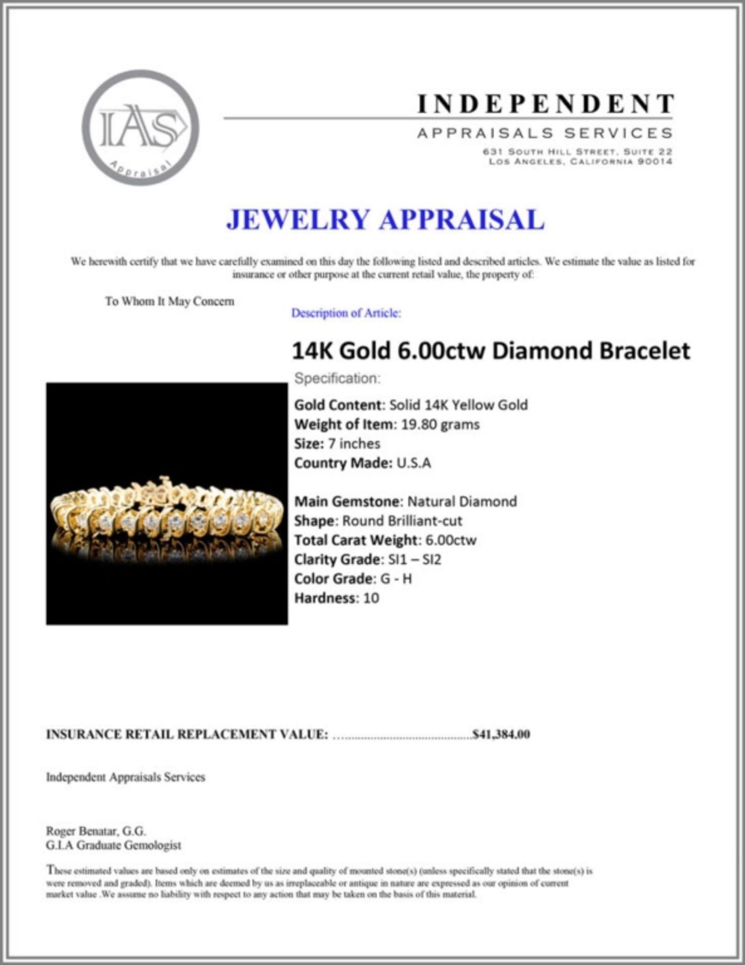 14K Gold 6.00ctw Diamond Bracelet - Image 4 of 4