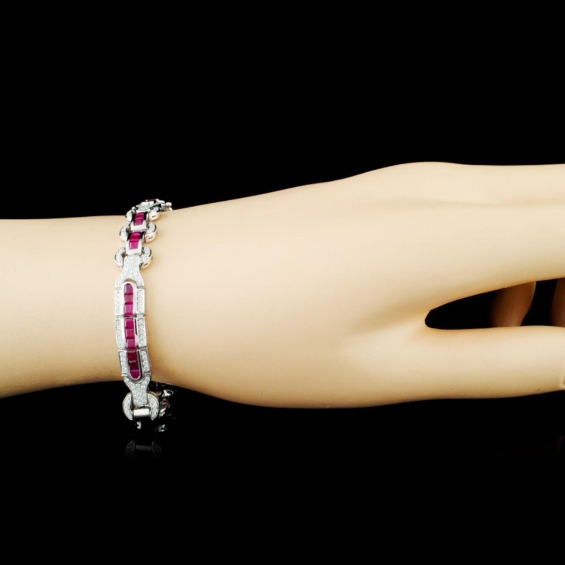 14K Gold 5.12ct Ruby & 1.30ctw Diamond Bracelet - Image 3 of 4