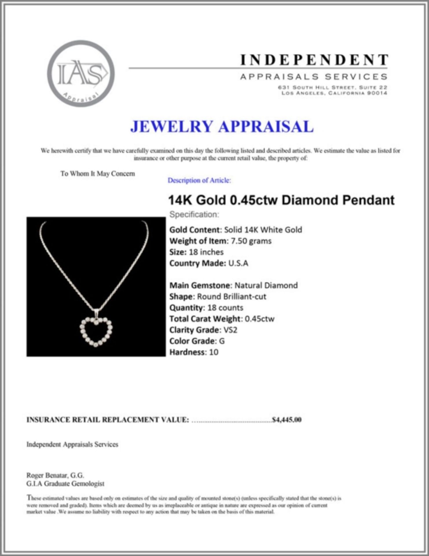 14K Gold 0.45ctw Diamond Pendant - Image 4 of 4