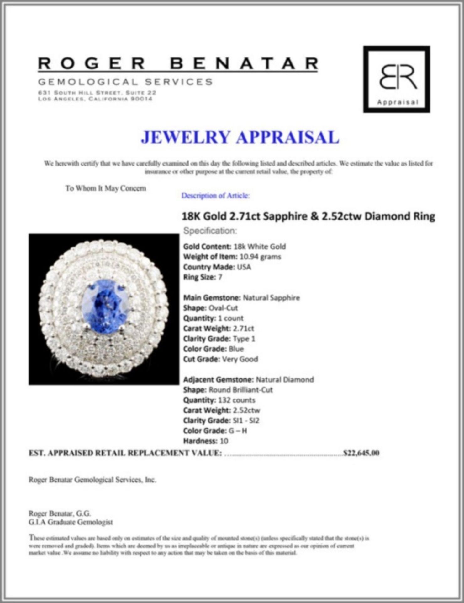 18K Gold 2.71ct Sapphire & 2.52ctw Diamond Ring - Image 5 of 5