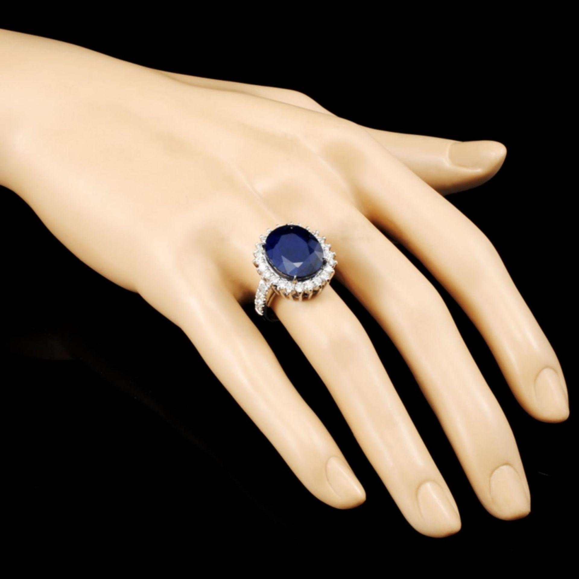 14K Gold 11.90ct Sapphire & 1.24ctw Diamond Ring - Image 3 of 5