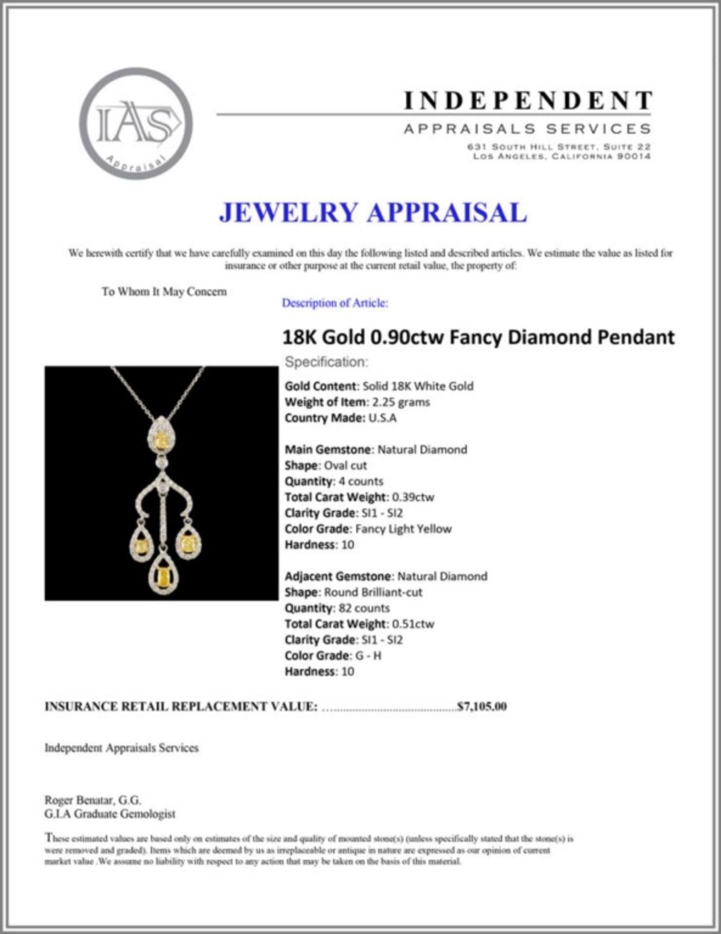 18K Gold 0.90ctw Fancy Diamond Pendant - Image 4 of 4