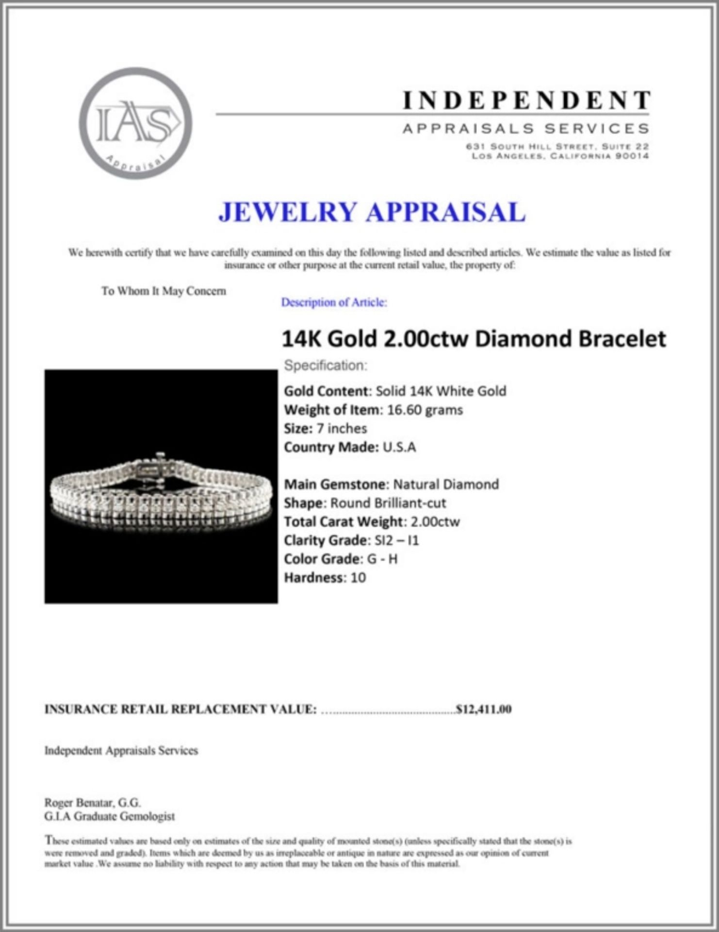 14K Gold 2.00ctw Diamond Bracelet - Image 4 of 4