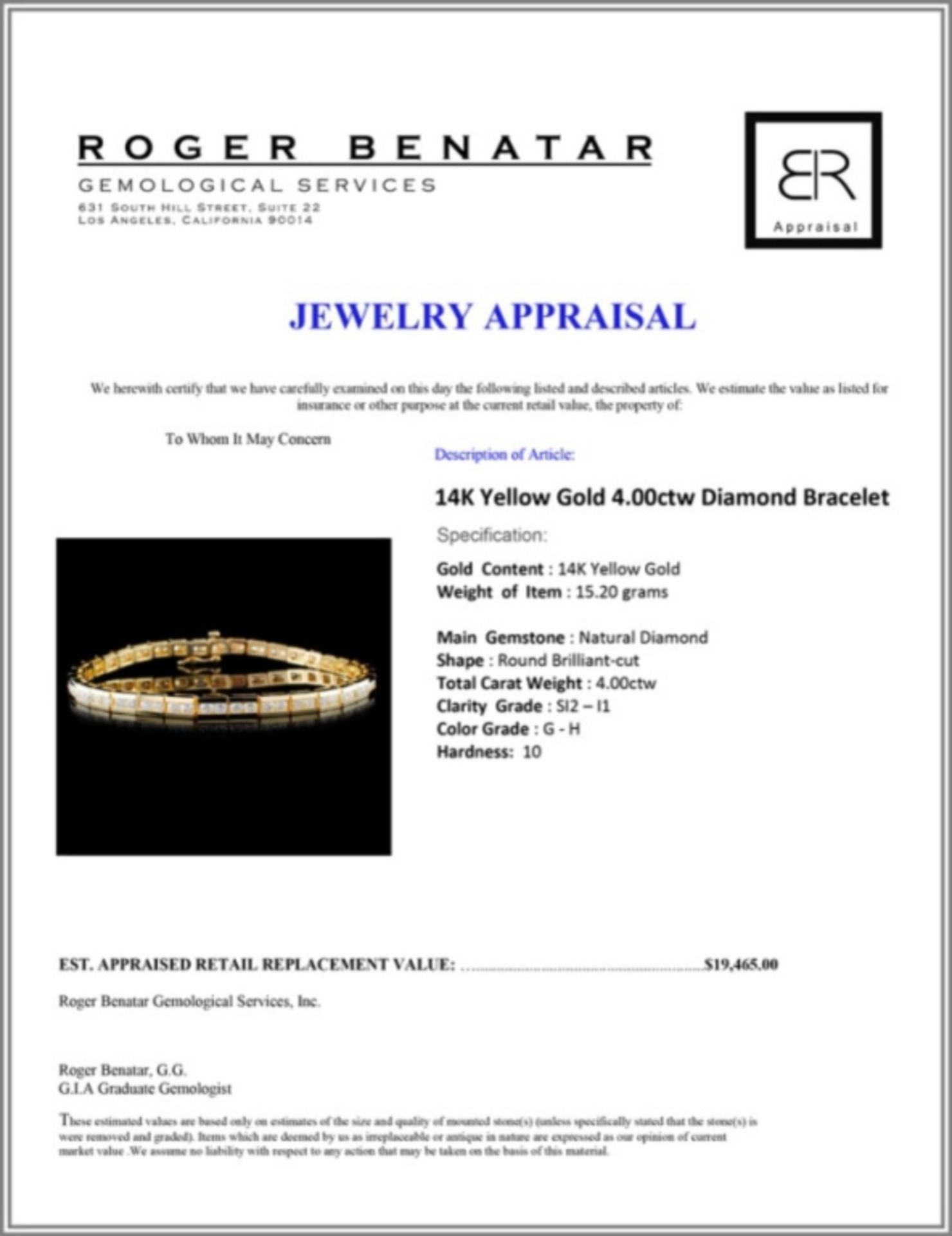 14K Yellow Gold 4.00ctw Diamond Bracelet - Image 3 of 3