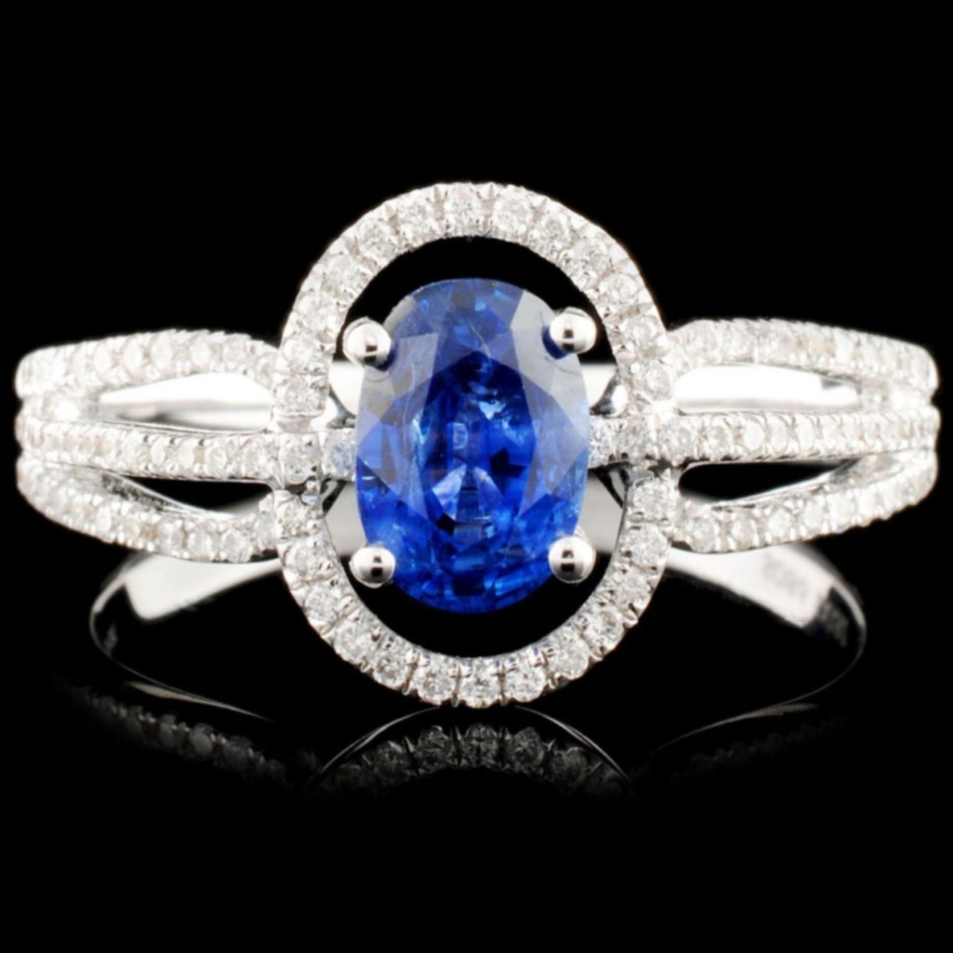 18K Gold 0.86ct Sapphire & 0.32ctw Diamond Ring