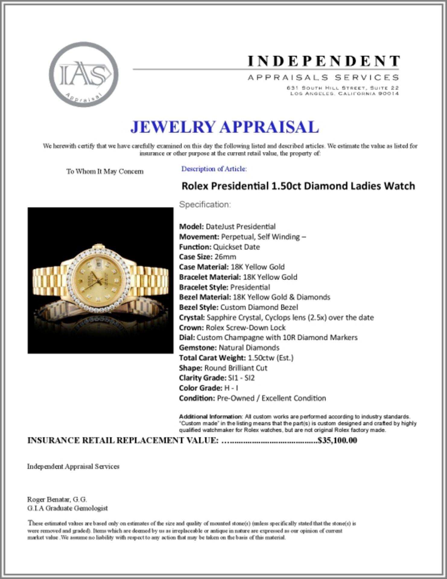 Rolex Presidential Diamond Ladies Watch - Image 5 of 5