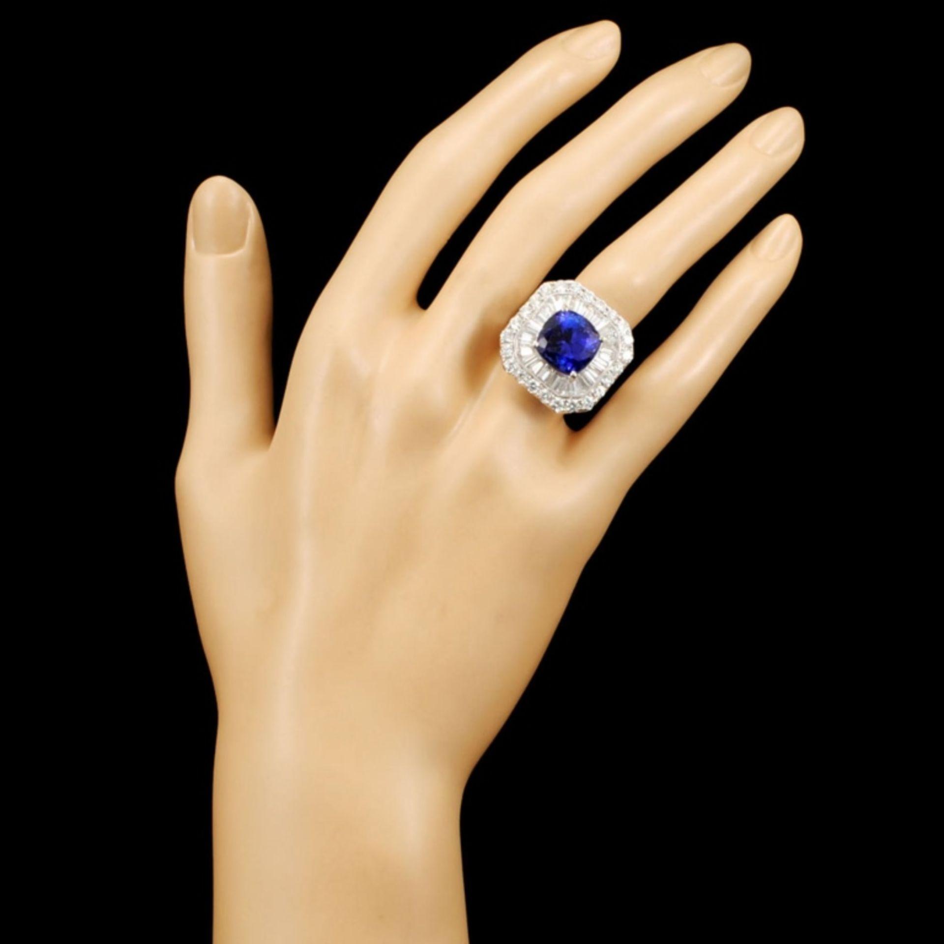 18K Gold 7.60ct Tanzanite & 3.33ctw Diamond Ring - Image 4 of 5