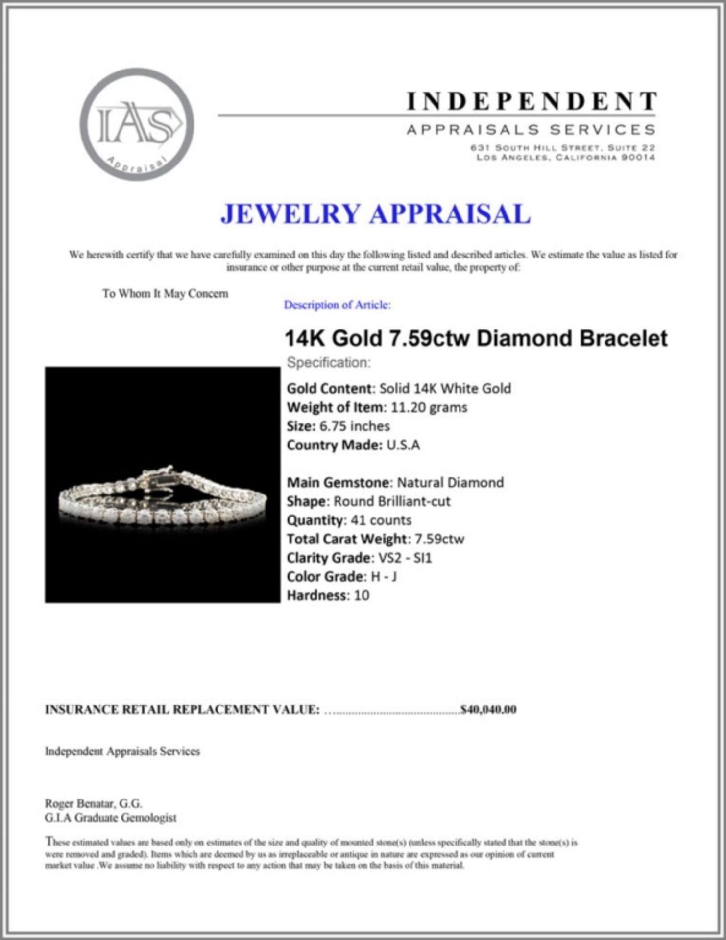 14K Gold 7.59ctw Diamond Bracelet - Image 4 of 4