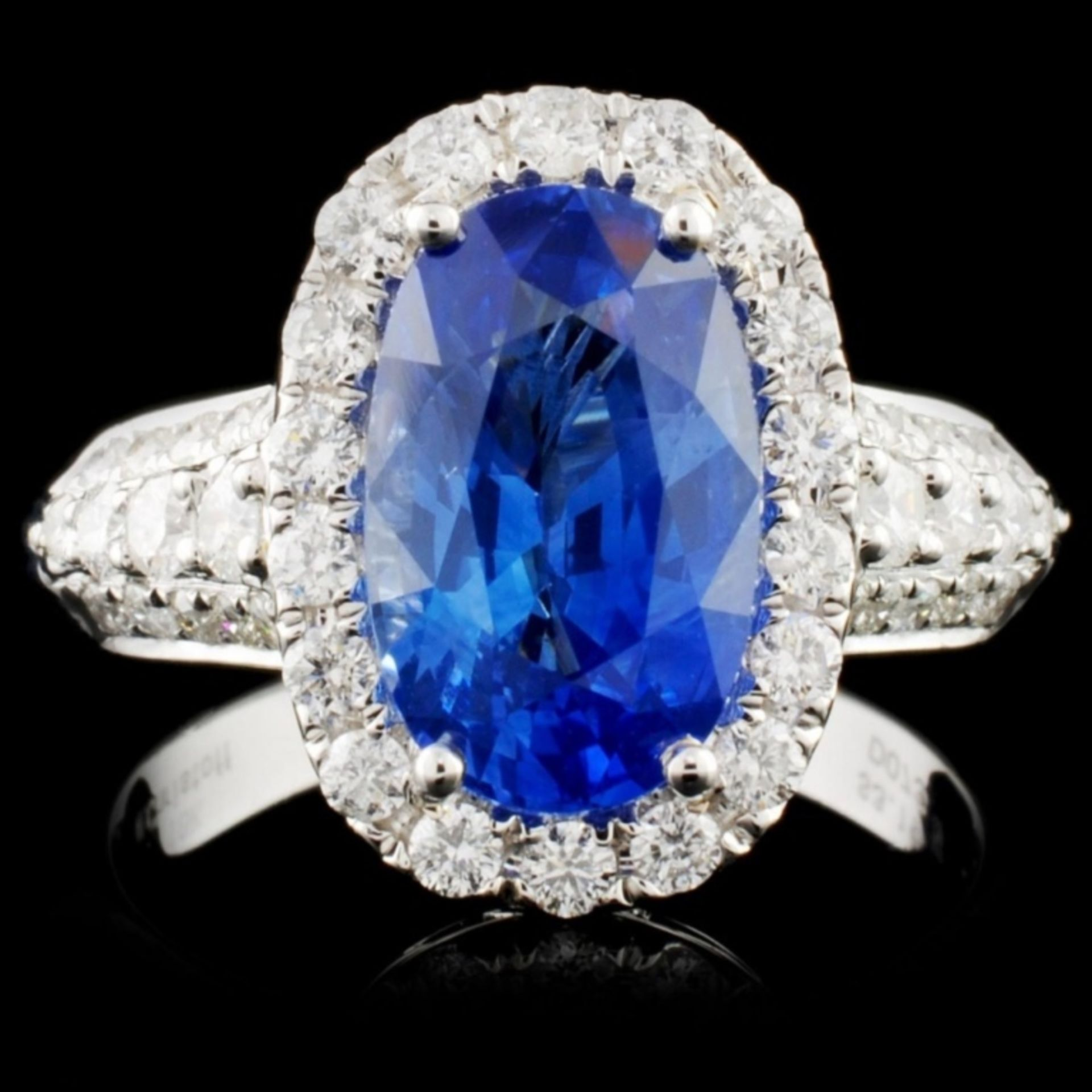 18K White Gold 3.19ct Sapphire & 0.73ct Diamond Ri