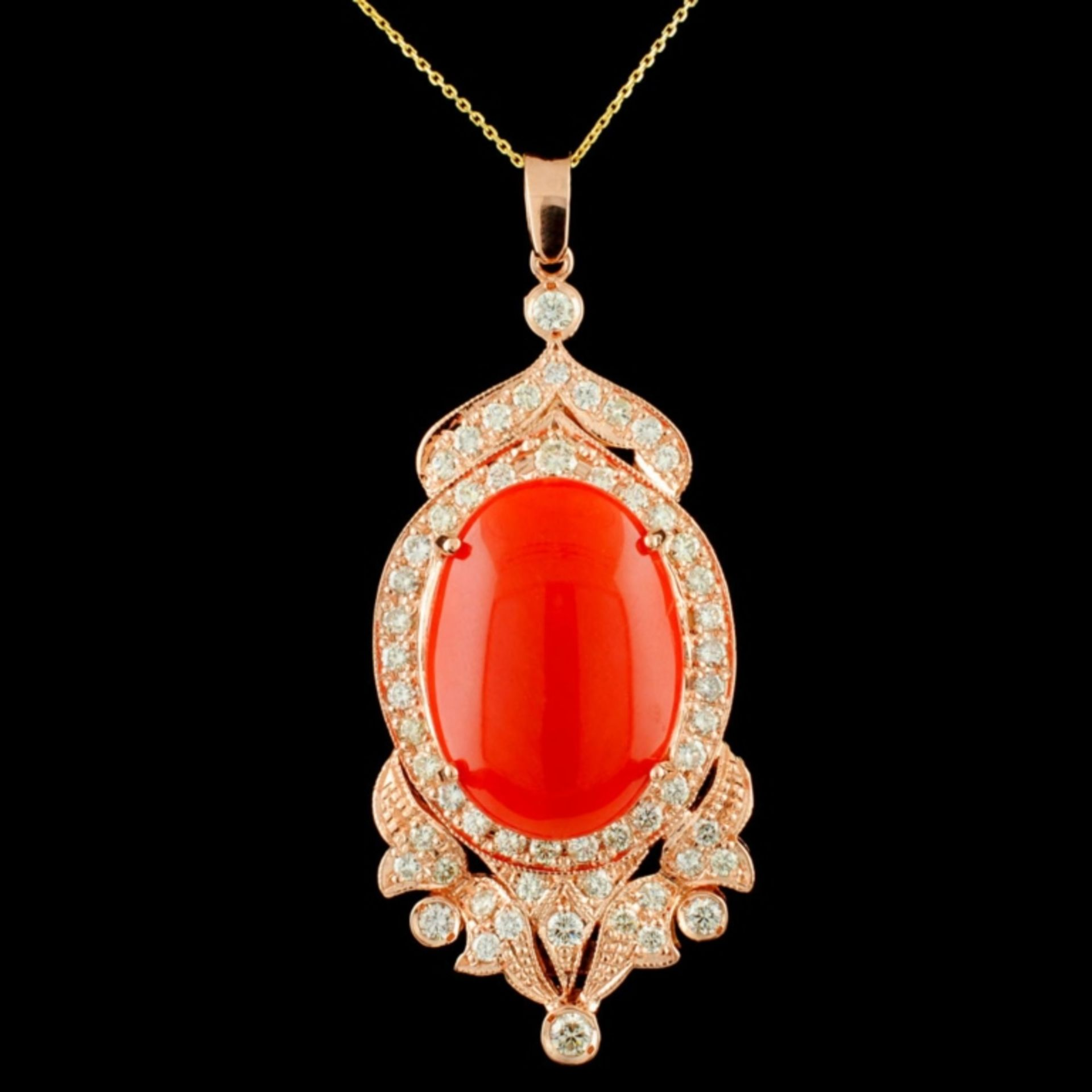 14K Gold 16.48ct Coral & 2.15ctw Diamond Pendant