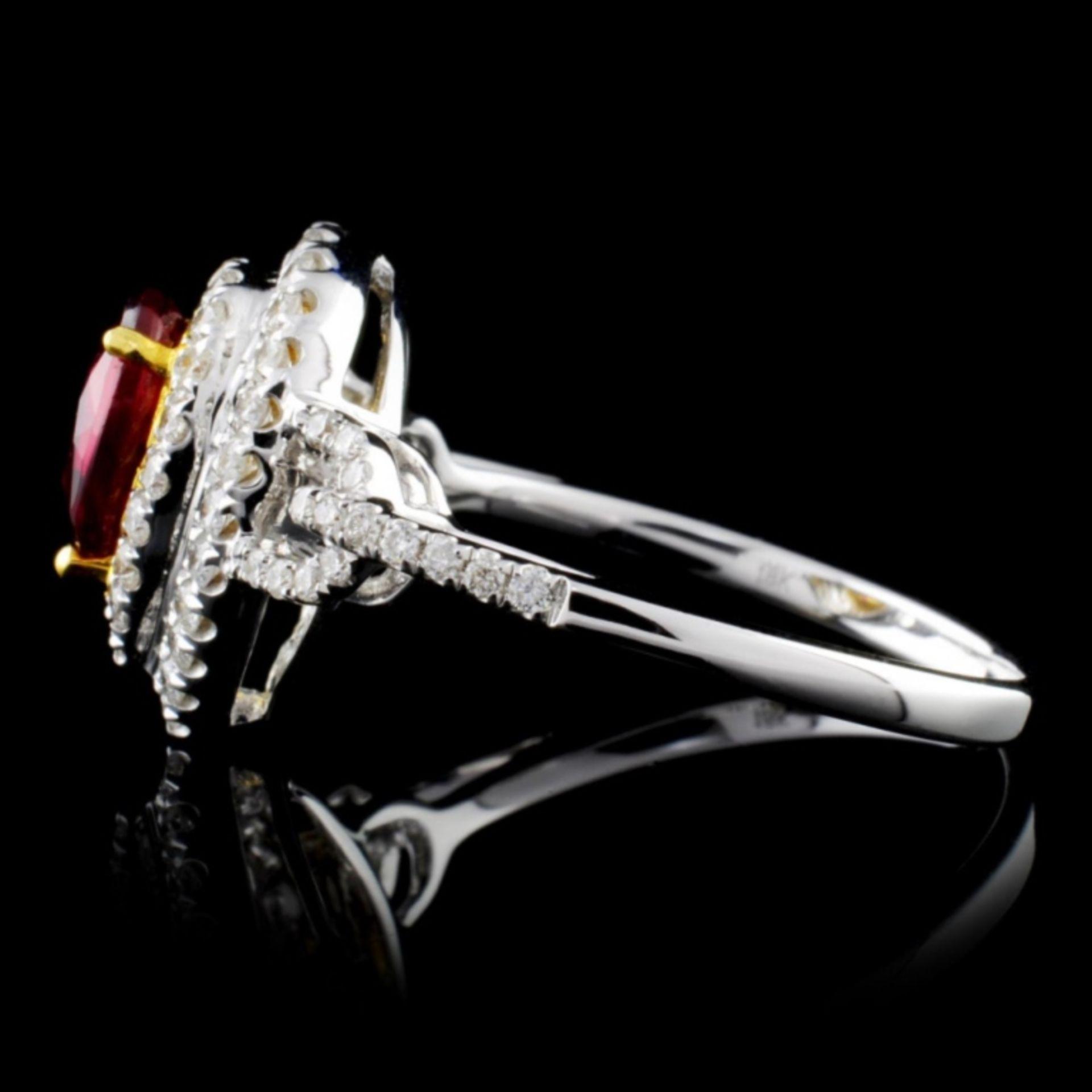 18K White Gold 0.99ct Ruby & 0.45ct Diamond Ring - Image 3 of 4