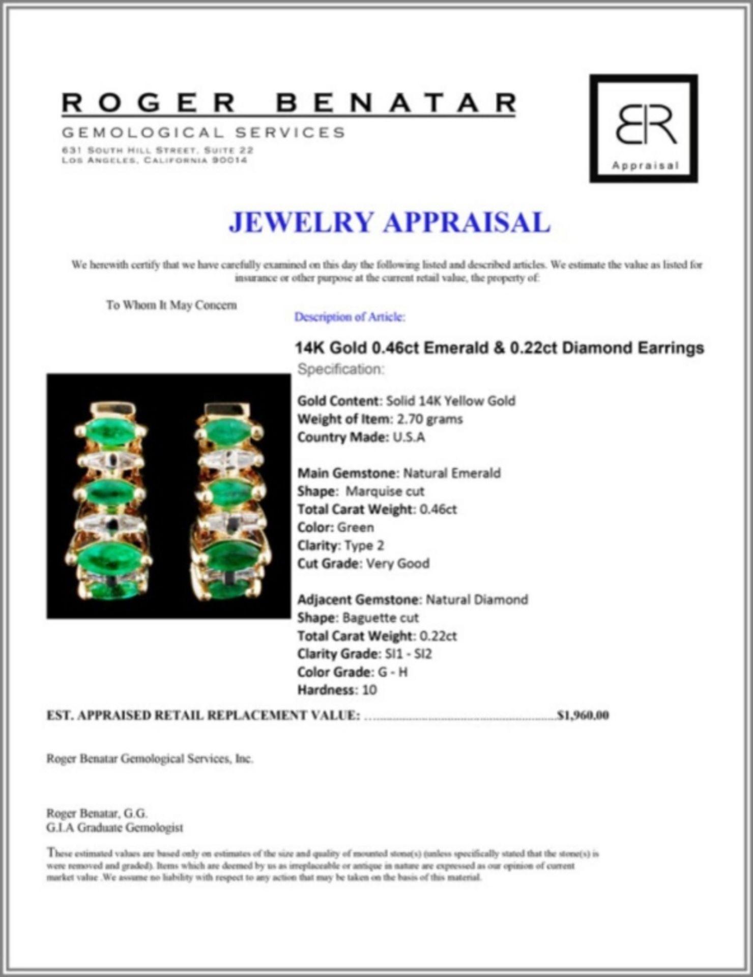 14K Gold 0.46ct Emerald & 0.22ct Diamond Earrings - Image 3 of 3