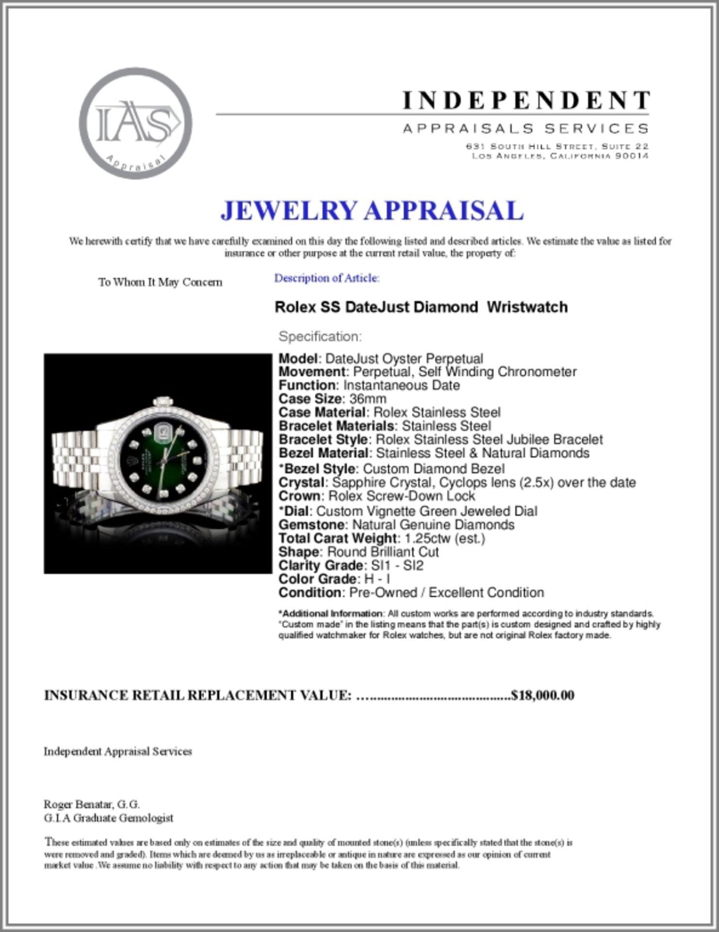 Rolex SS DateJust Diamond 36mm Wristwatch - Image 5 of 5