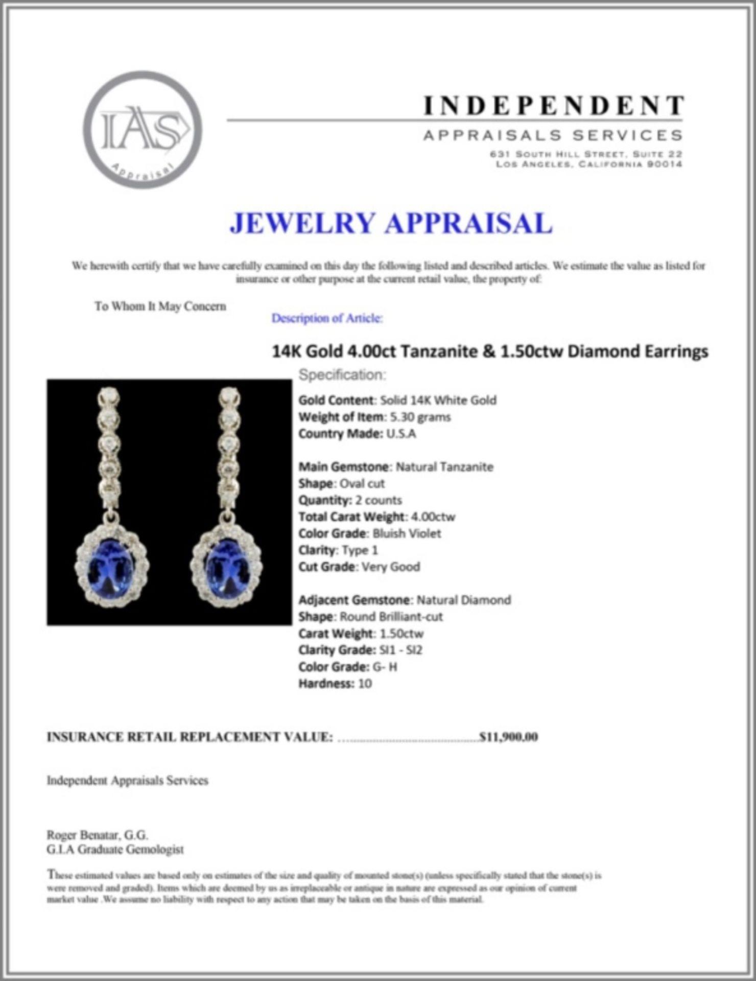 14K Gold 4.00ct Tanzanite & 1.50ctw Diamond Earrin - Image 3 of 3
