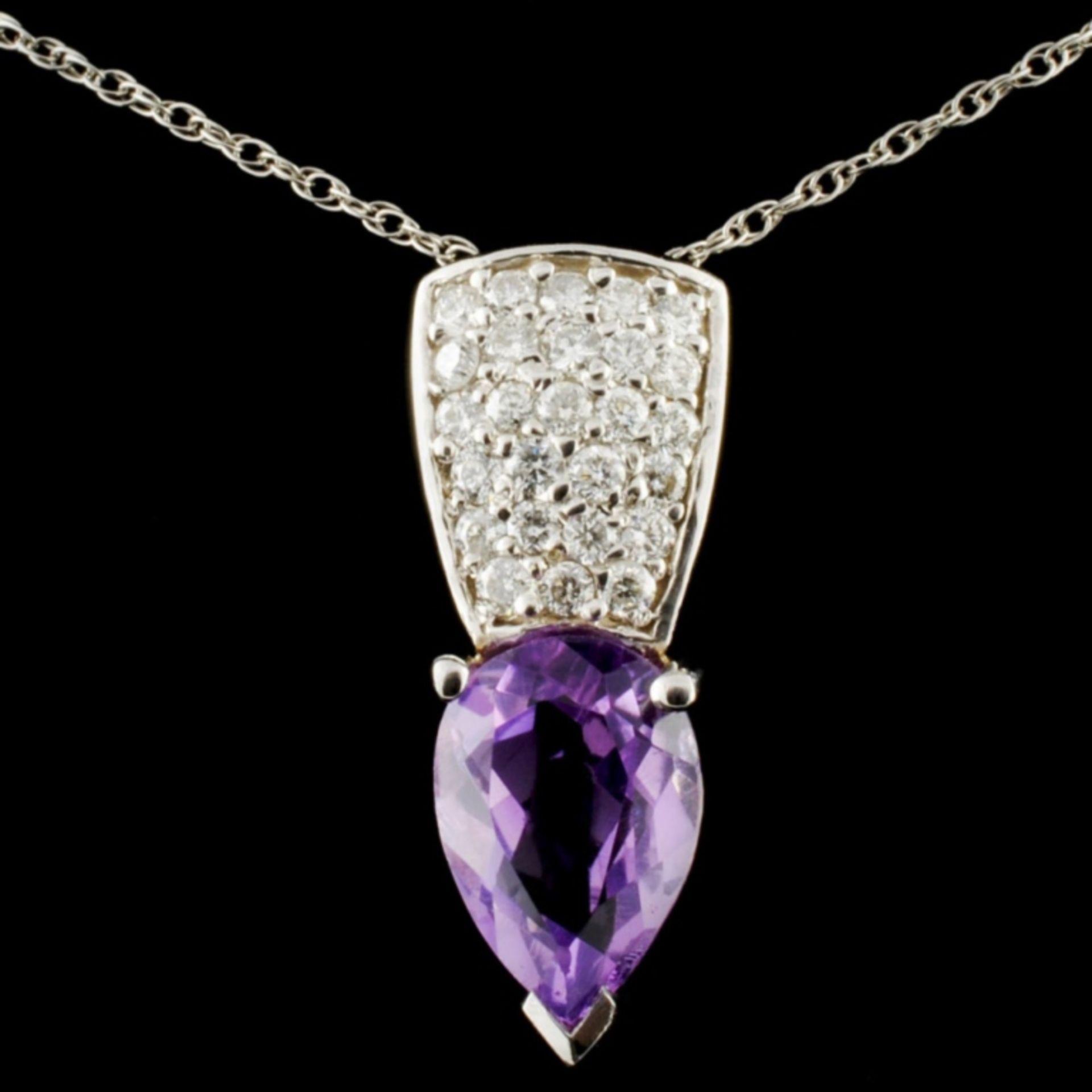 14K Gold 2.30ct Amethyst & 0.60ctw Diamond Pendant