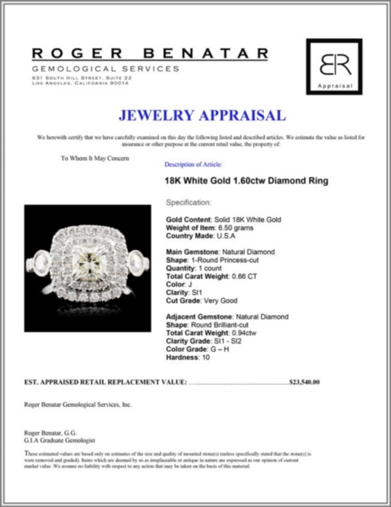 18K White Gold 1.60ctw Diamond Ring - Image 4 of 4