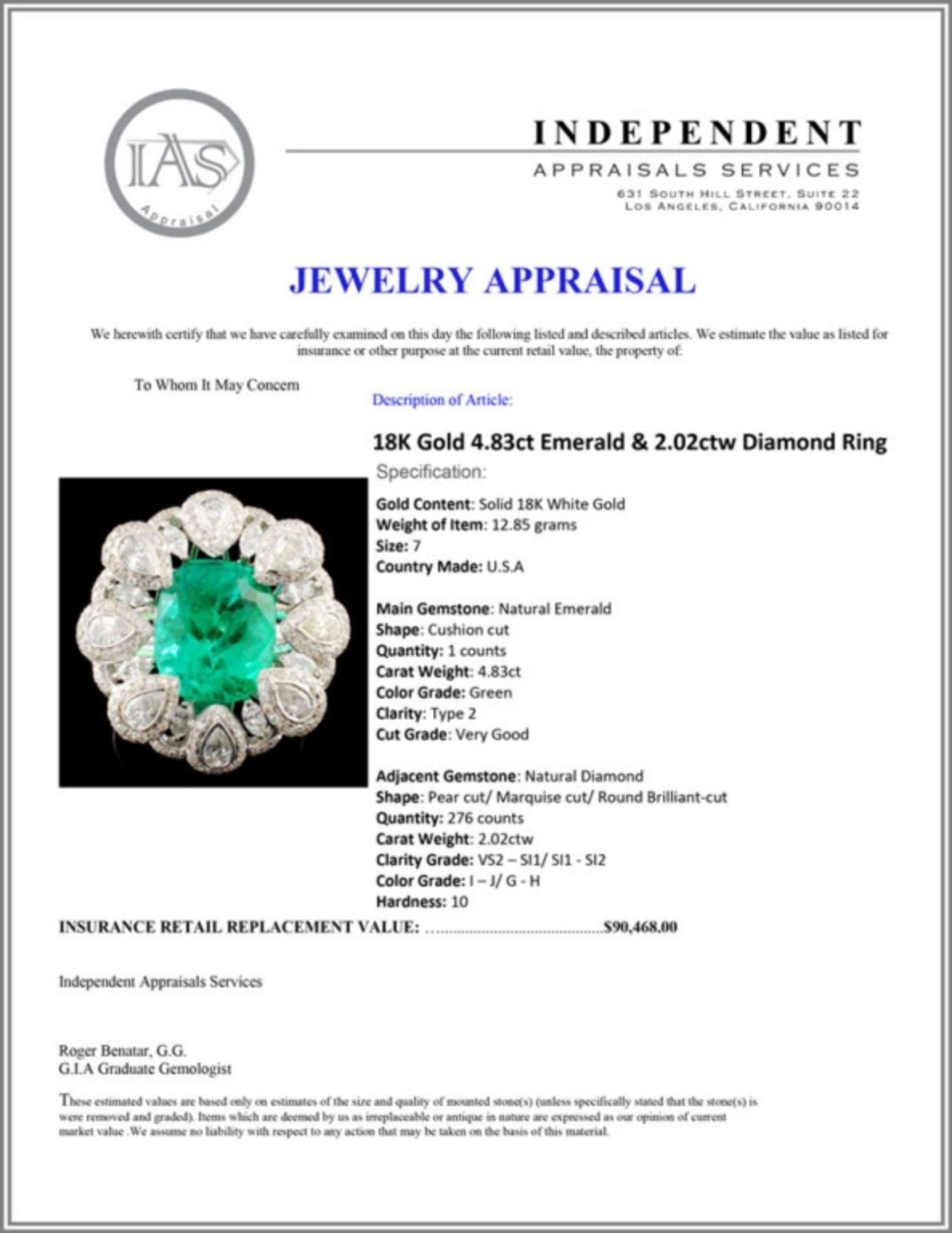 18K Gold 4.83ct Emerald & 2.02ctw Diamond Ring - Image 5 of 5