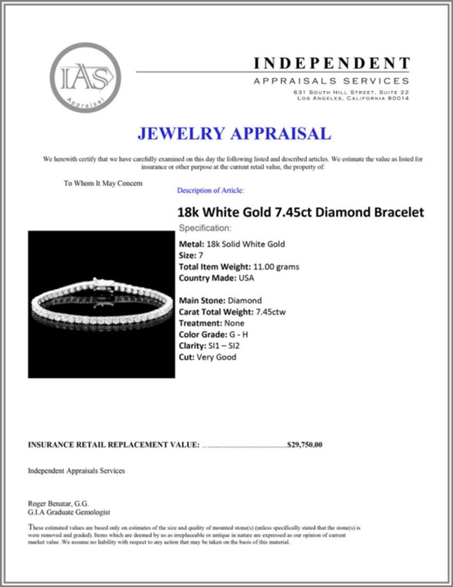 ^18k White Gold 7.45ct Diamond Bracelet - Image 3 of 3