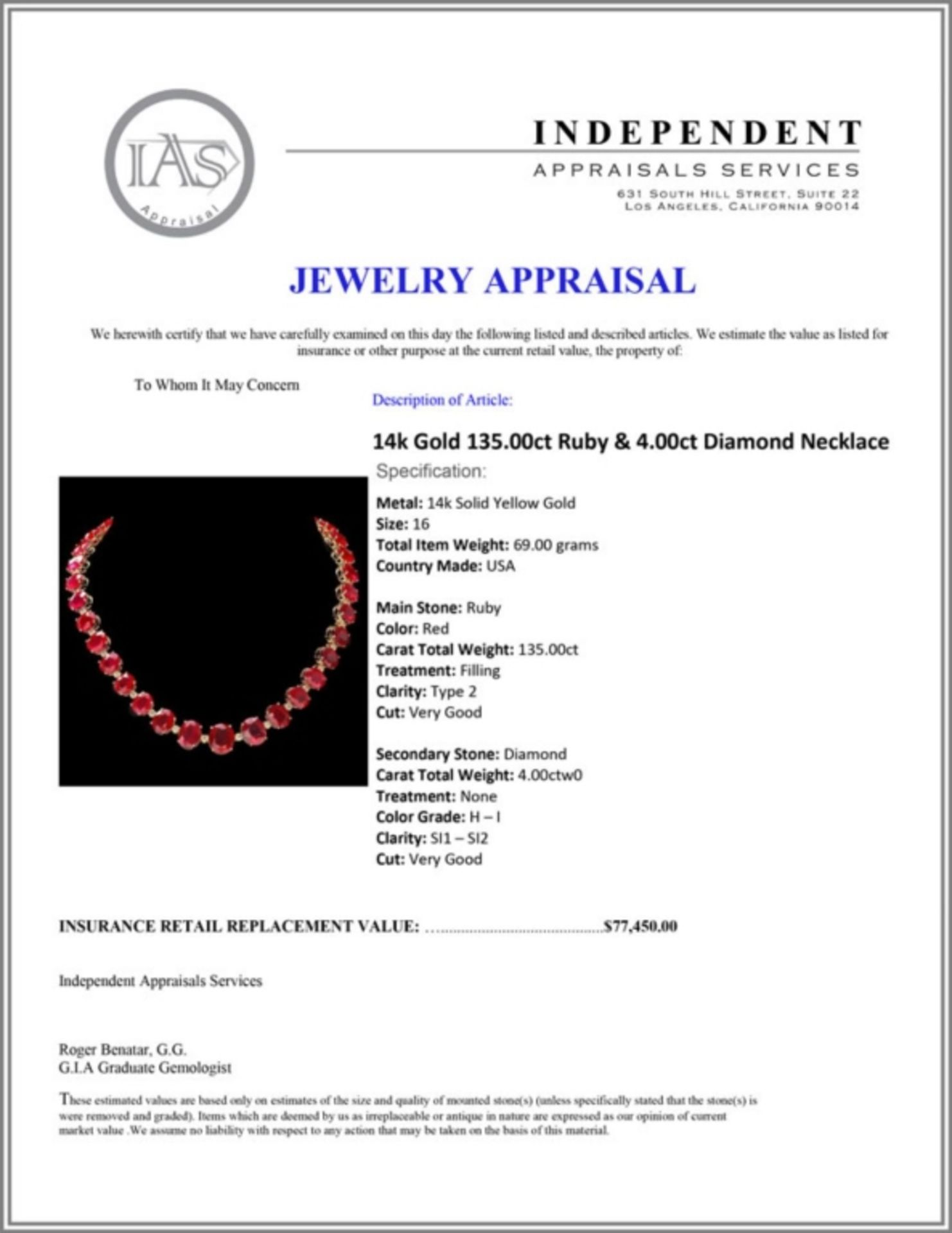 `14k Gold 135.00ct Ruby & 4.00ct Diamond Necklace - Image 4 of 4