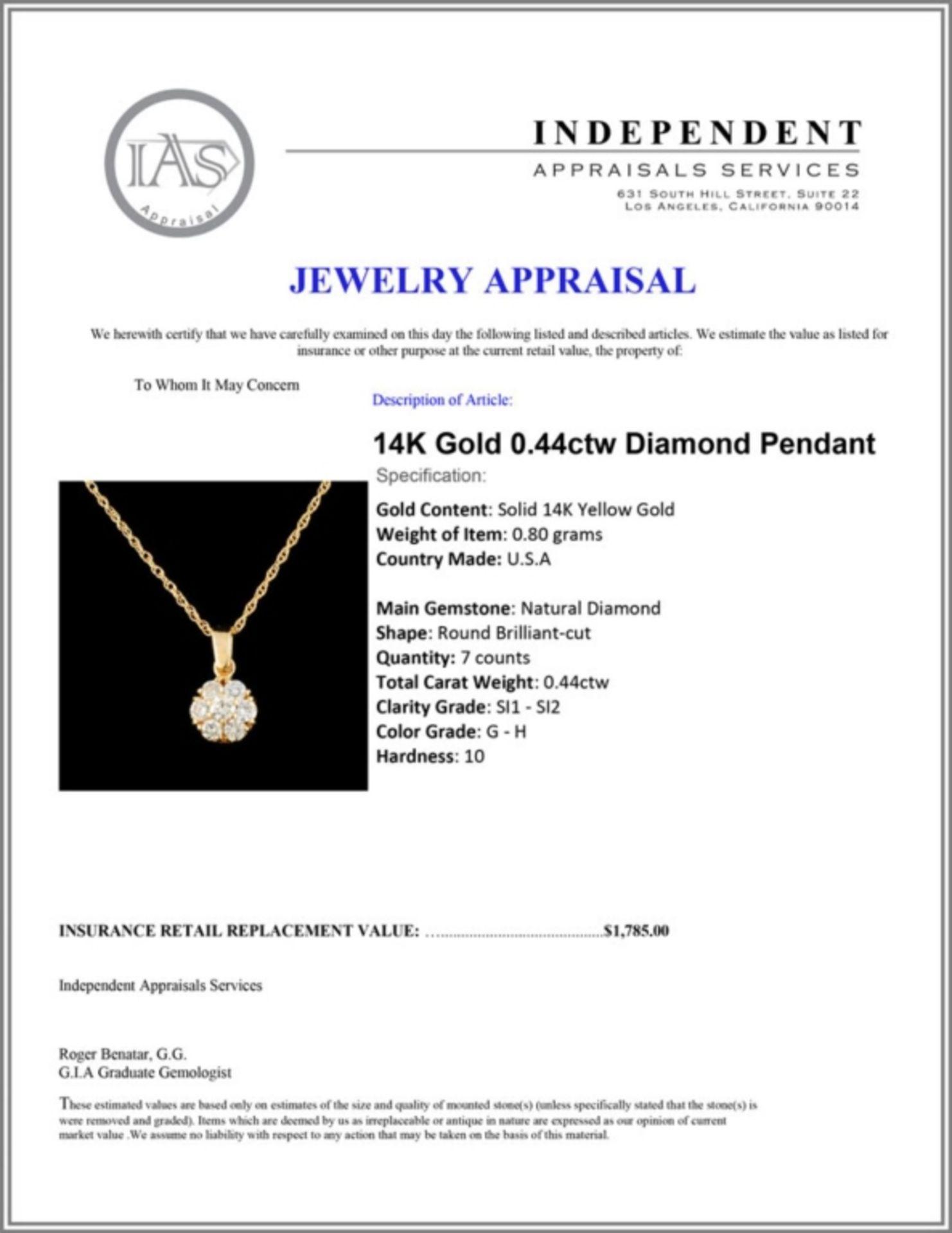 14K Gold 0.44ctw Diamond Pendant - Image 4 of 4