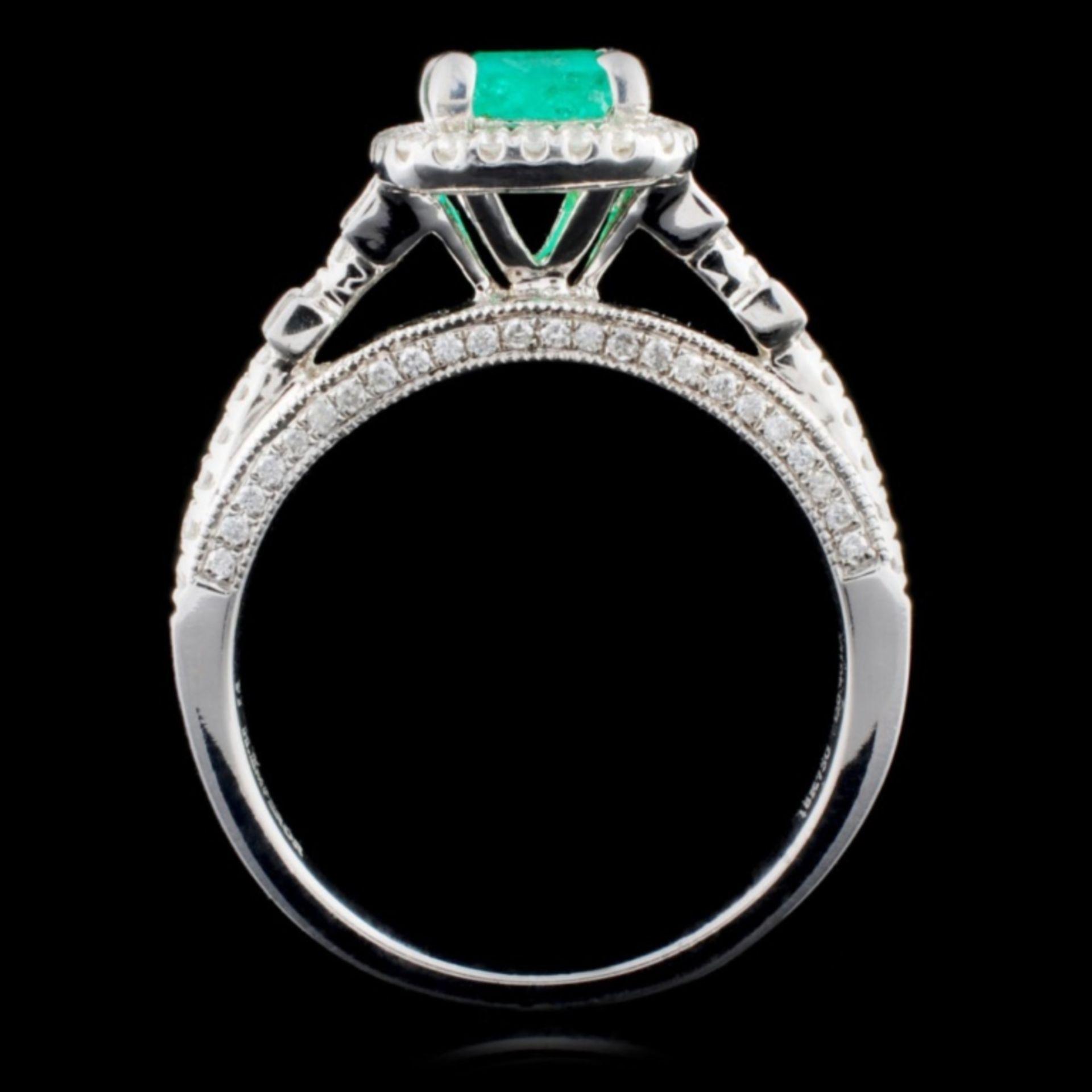 18K White Gold 0.69ct Emerald & 0.41ct Diamond Rin - Image 3 of 4