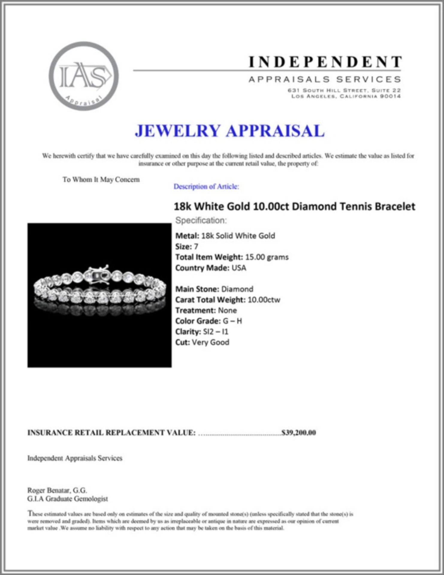 18k White Gold 10.00ct Diamond Tennis Bracelet - Image 3 of 3