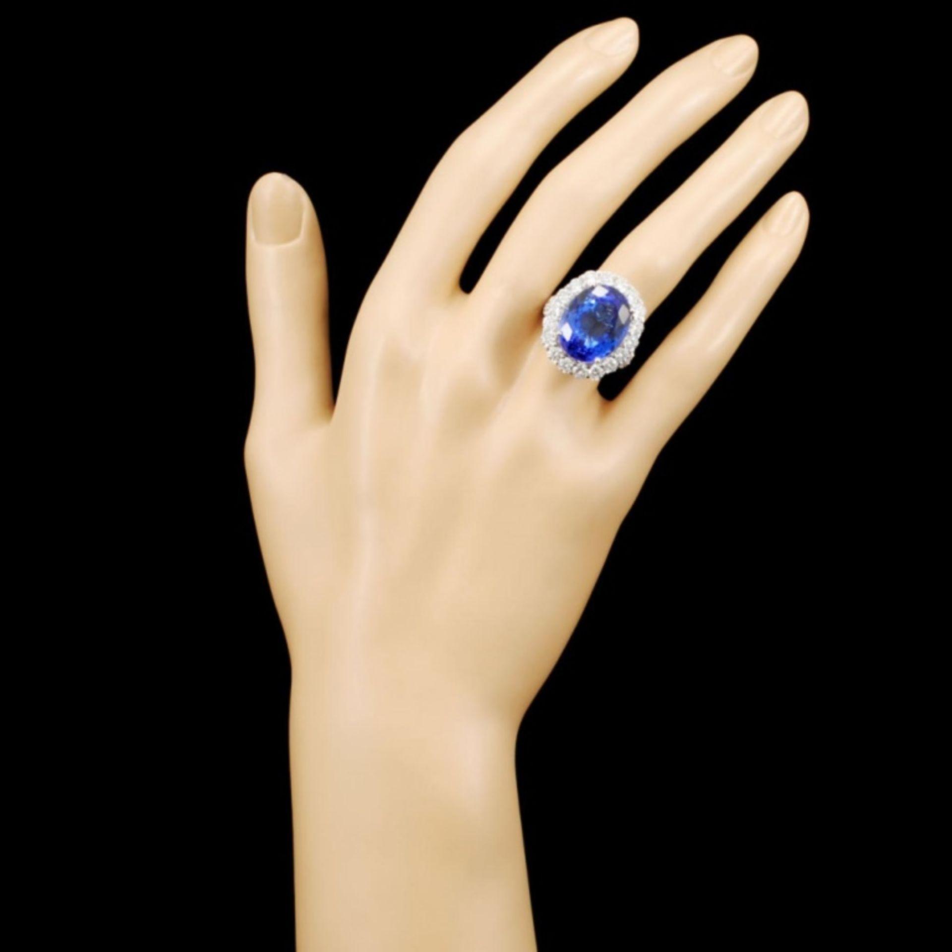 18K Gold 16.11ct Tanzanite & 3.06ctw Diamond Ring - Image 4 of 5