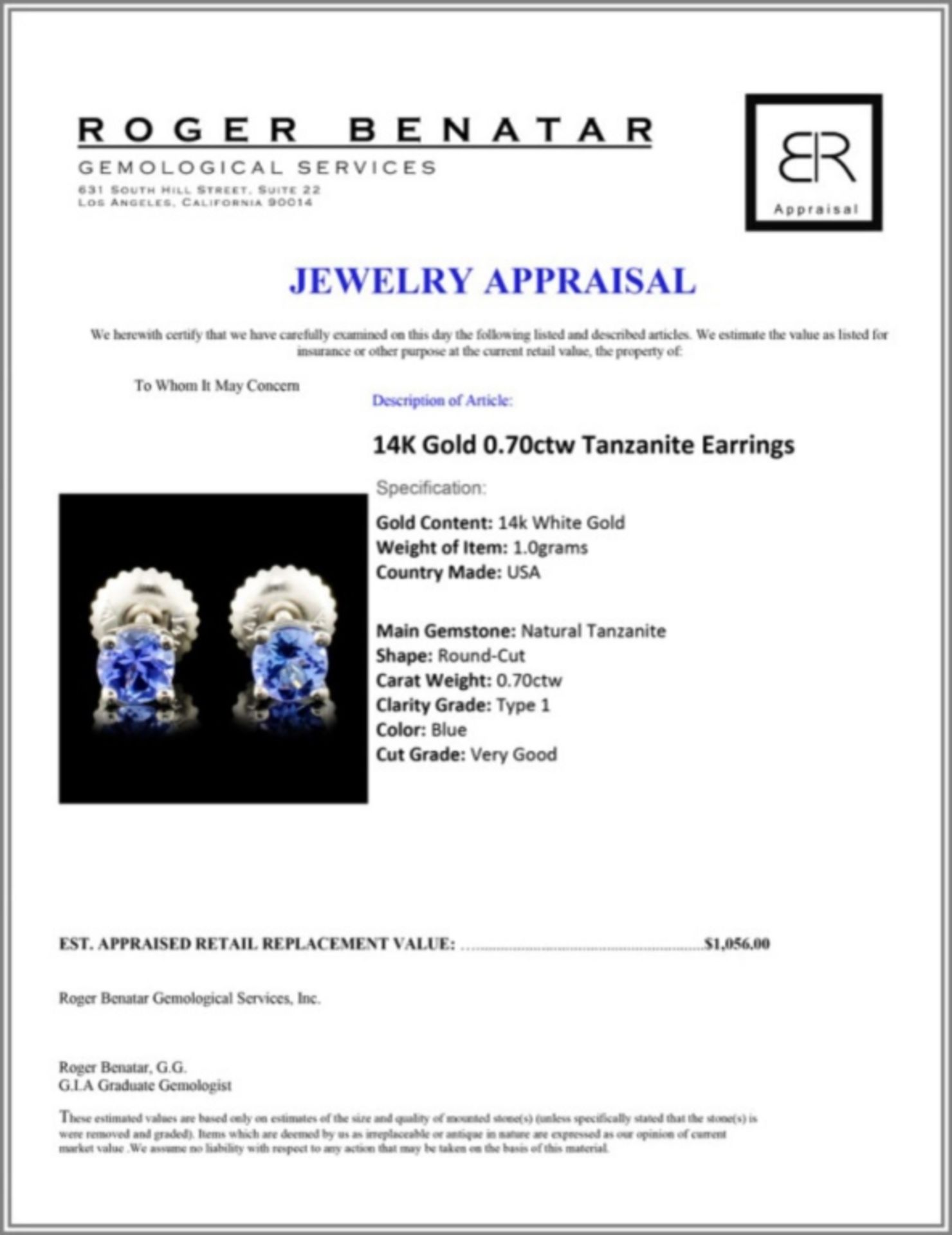 14K Gold 0.70ctw Tanzanite Earrings - Image 3 of 3