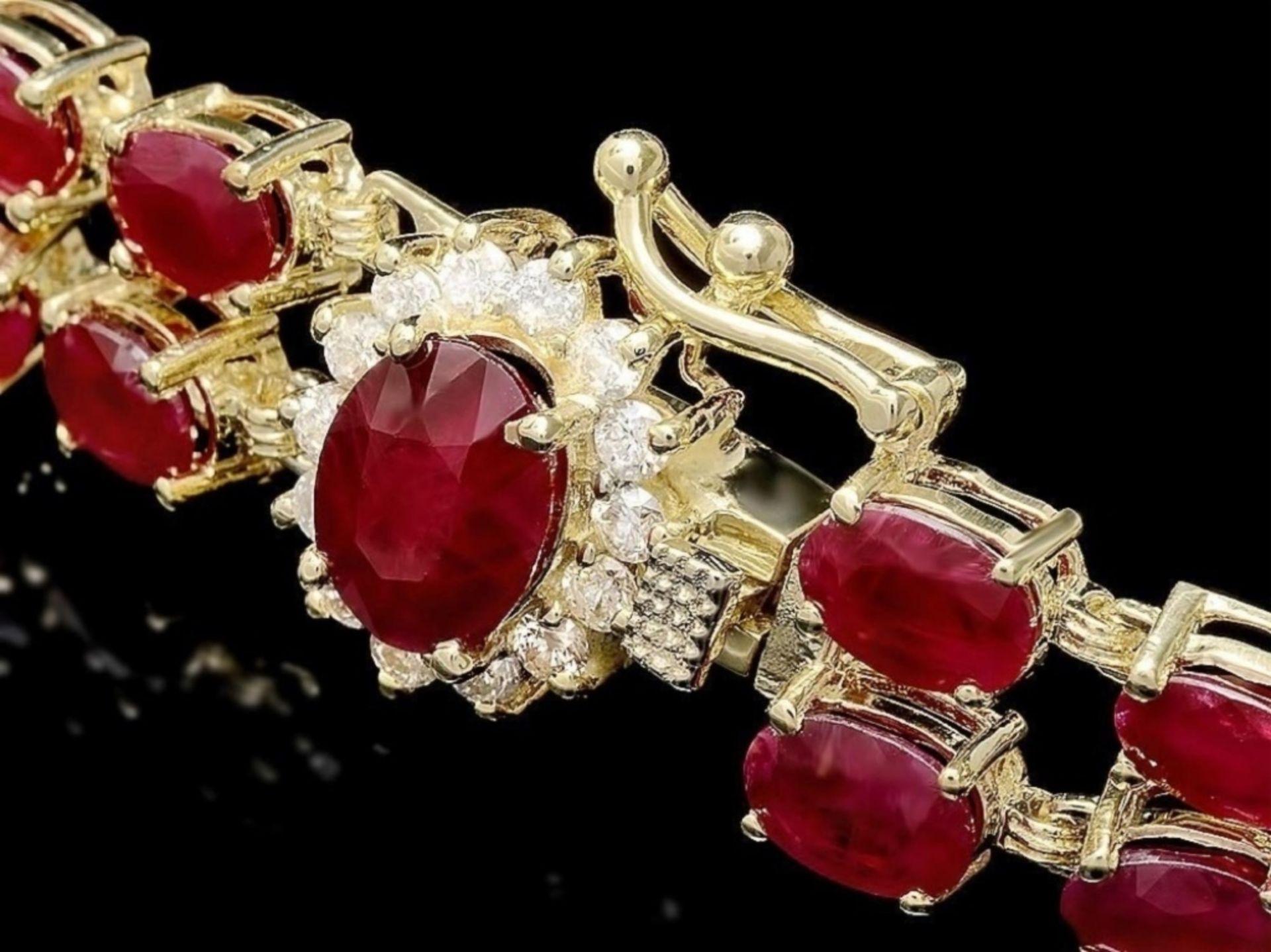 `14k Gold 20.00ct Ruby & 0.50ct Diamond Bracelet - Image 2 of 3