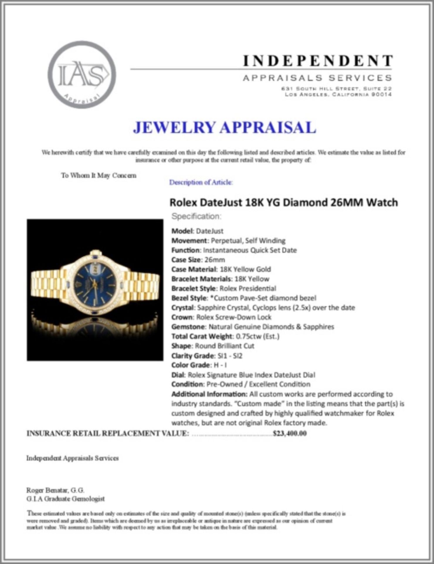Rolex DateJust 18K YG Diamond 26MM Watch - Image 6 of 6
