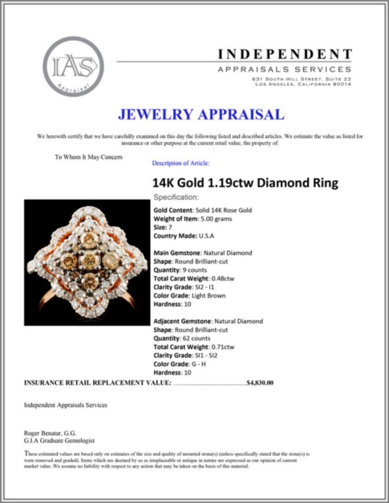 14K Gold 1.19ctw Diamond Ring - Image 5 of 5
