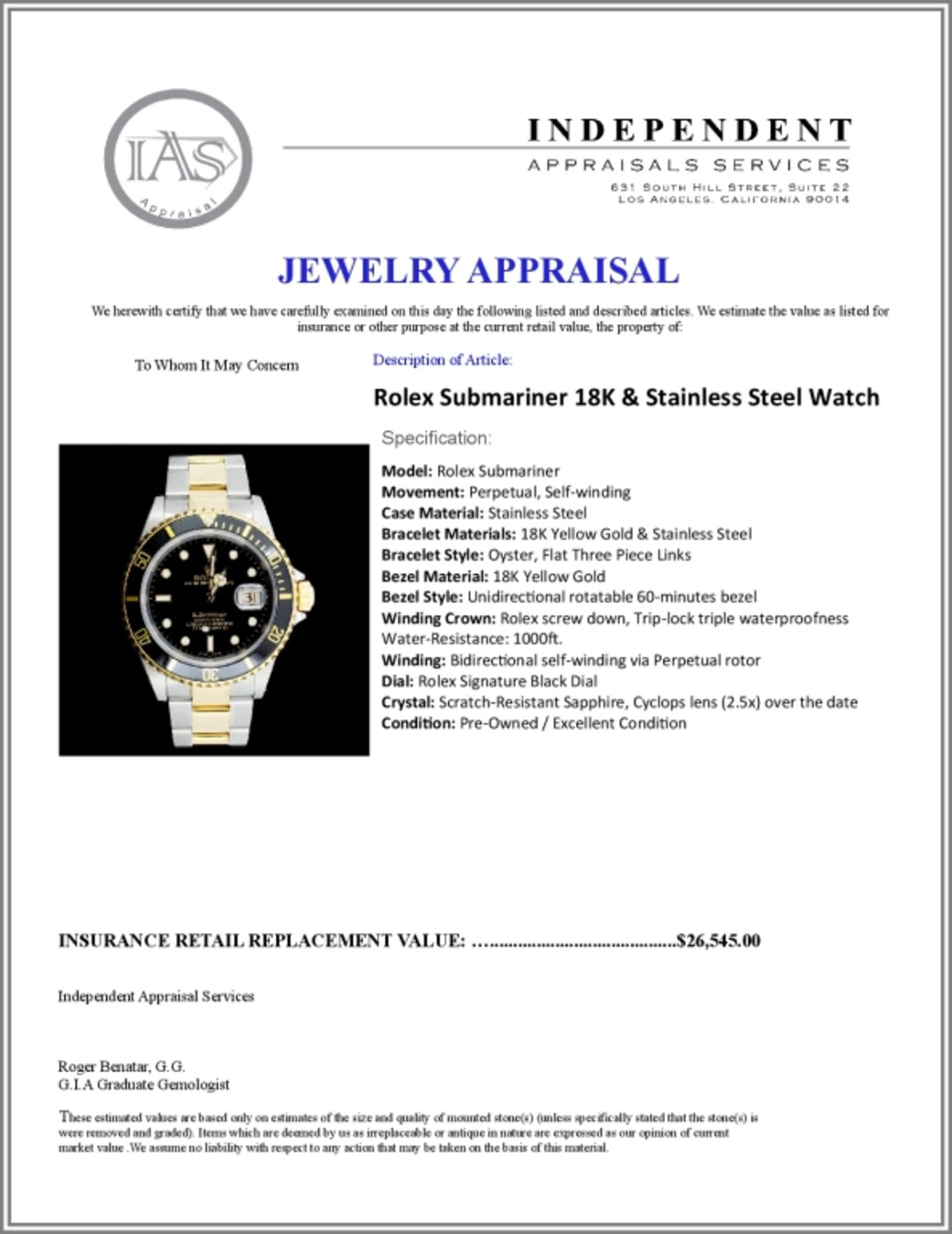 Rolex Submariner 18K & Stainless Steel 40MM Watch - Image 5 of 5