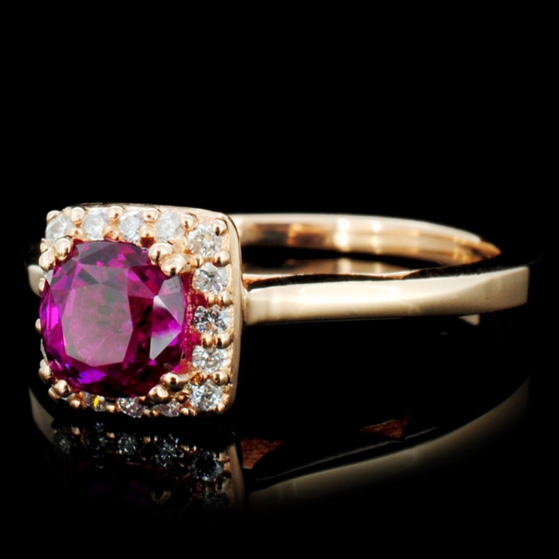 18K Gold 1.00ct Ruby & 0.35ctw Diamond Ring - Image 2 of 3