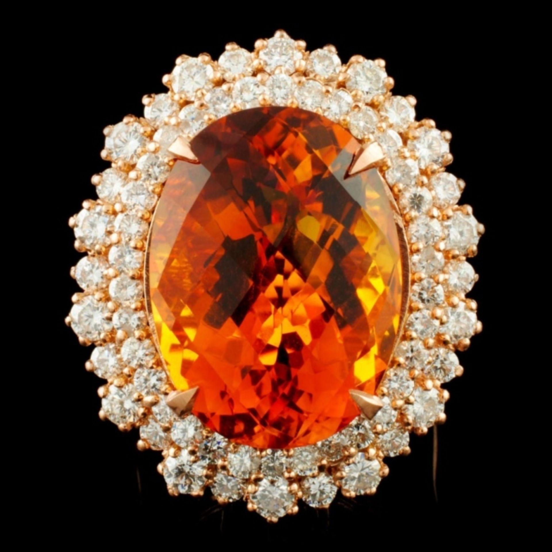 14K Gold 13.82ct Citrine & 2.30ctw Diamond Ring