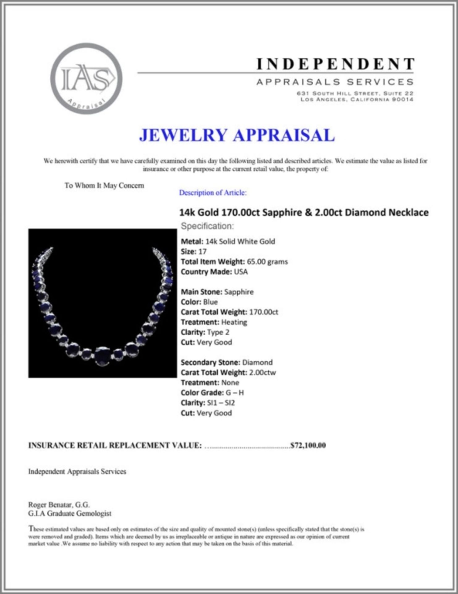 `14k Gold 170.00ct Sapphire & 2.00ct Diamond Neckl - Image 5 of 5