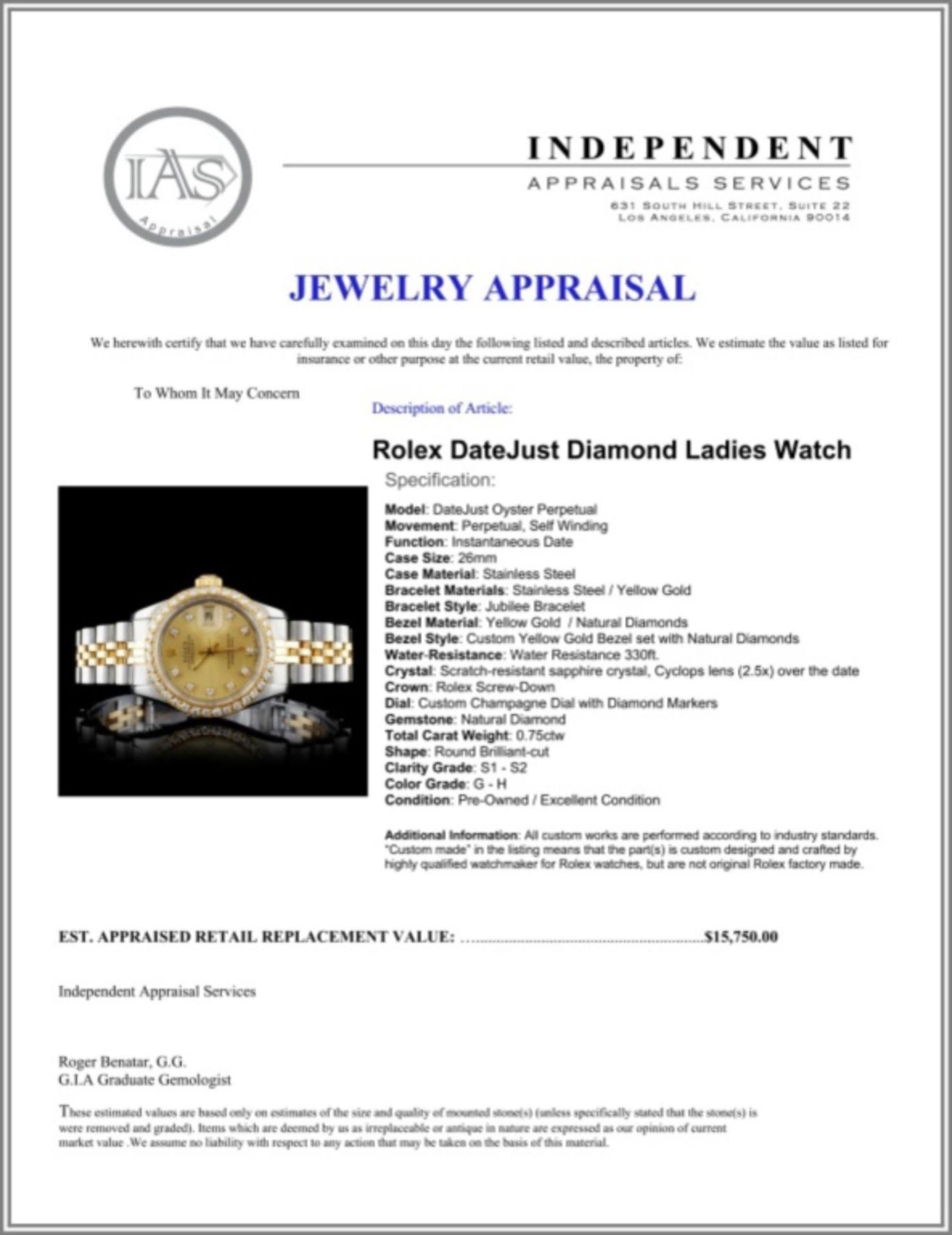 Rolex DateJust Diamond Ladies Watch - Image 5 of 5