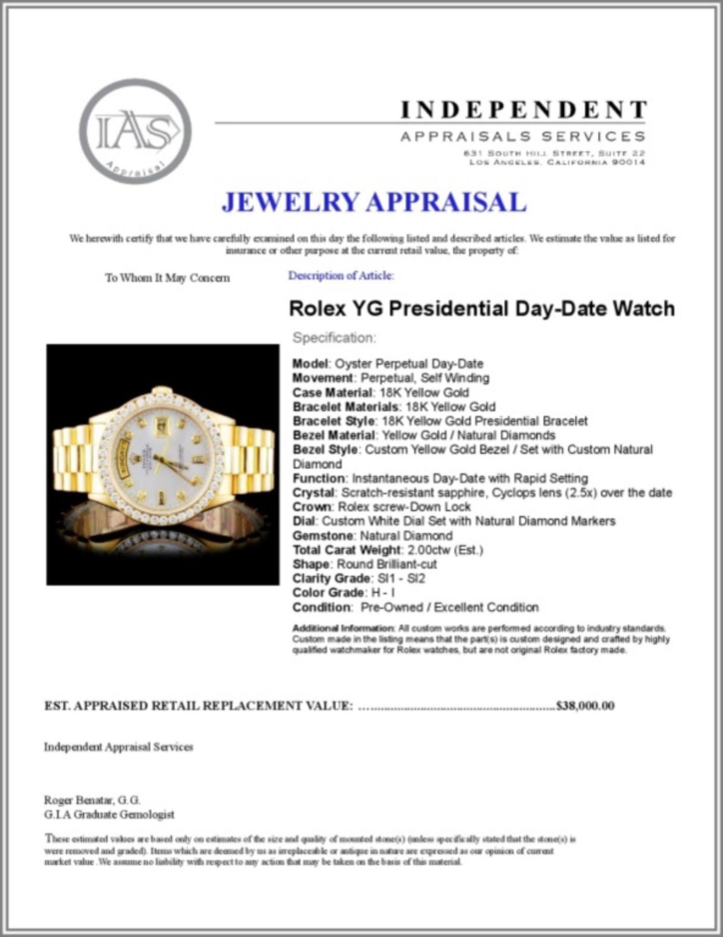 Rolex 18K YG Presidential Diamond Wristwatc - Image 4 of 4