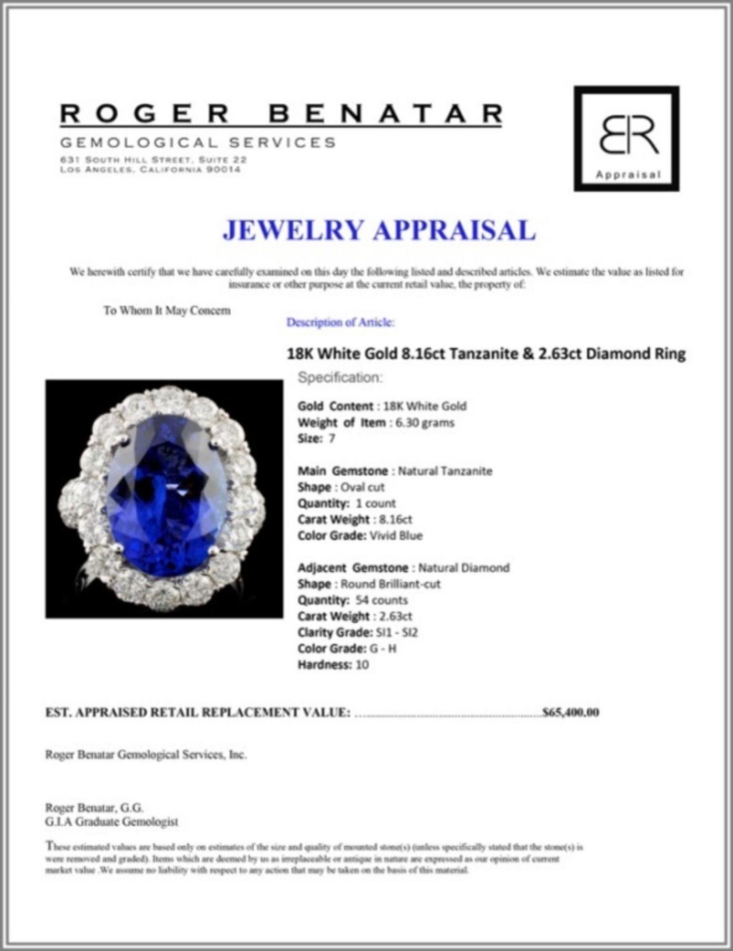 18K White Gold 8.16ct Tanzanite & 2.63ct Diamond R - Image 4 of 4