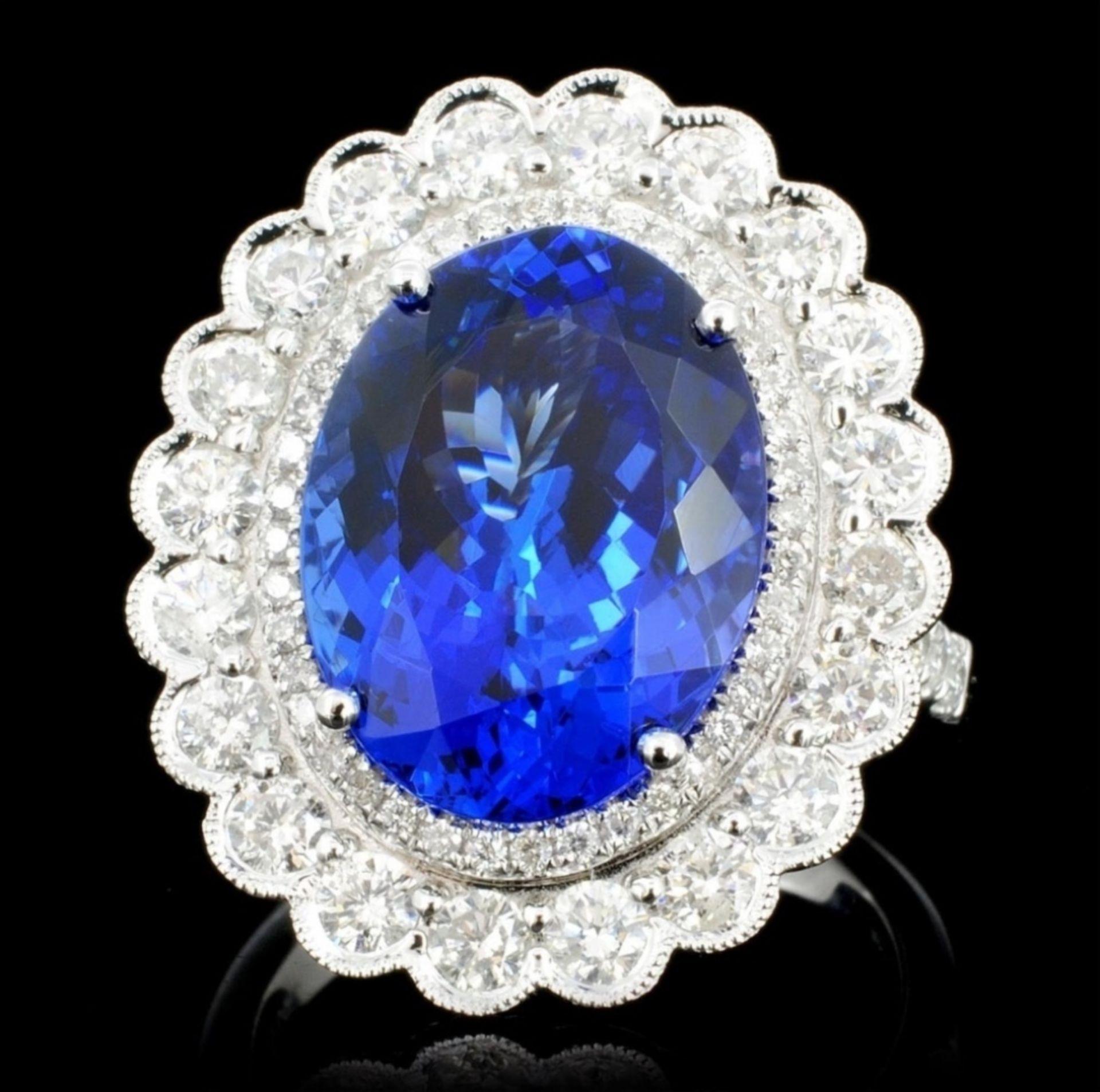18K Gold 7.59ct Tanzanite & 1.51ct Diamond Ring - Image 2 of 4