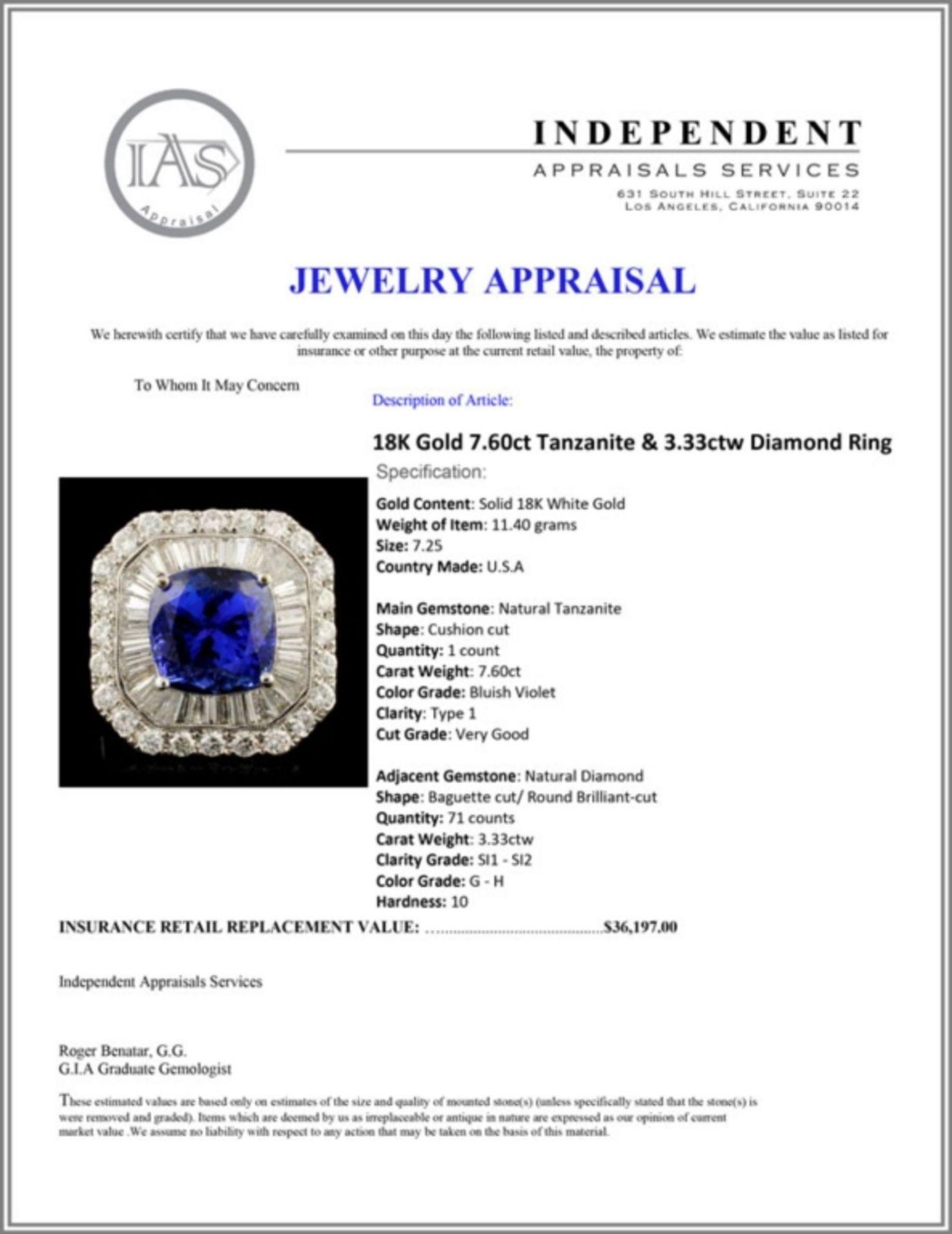 18K Gold 7.60ct Tanzanite & 3.33ctw Diamond Ring - Image 5 of 5